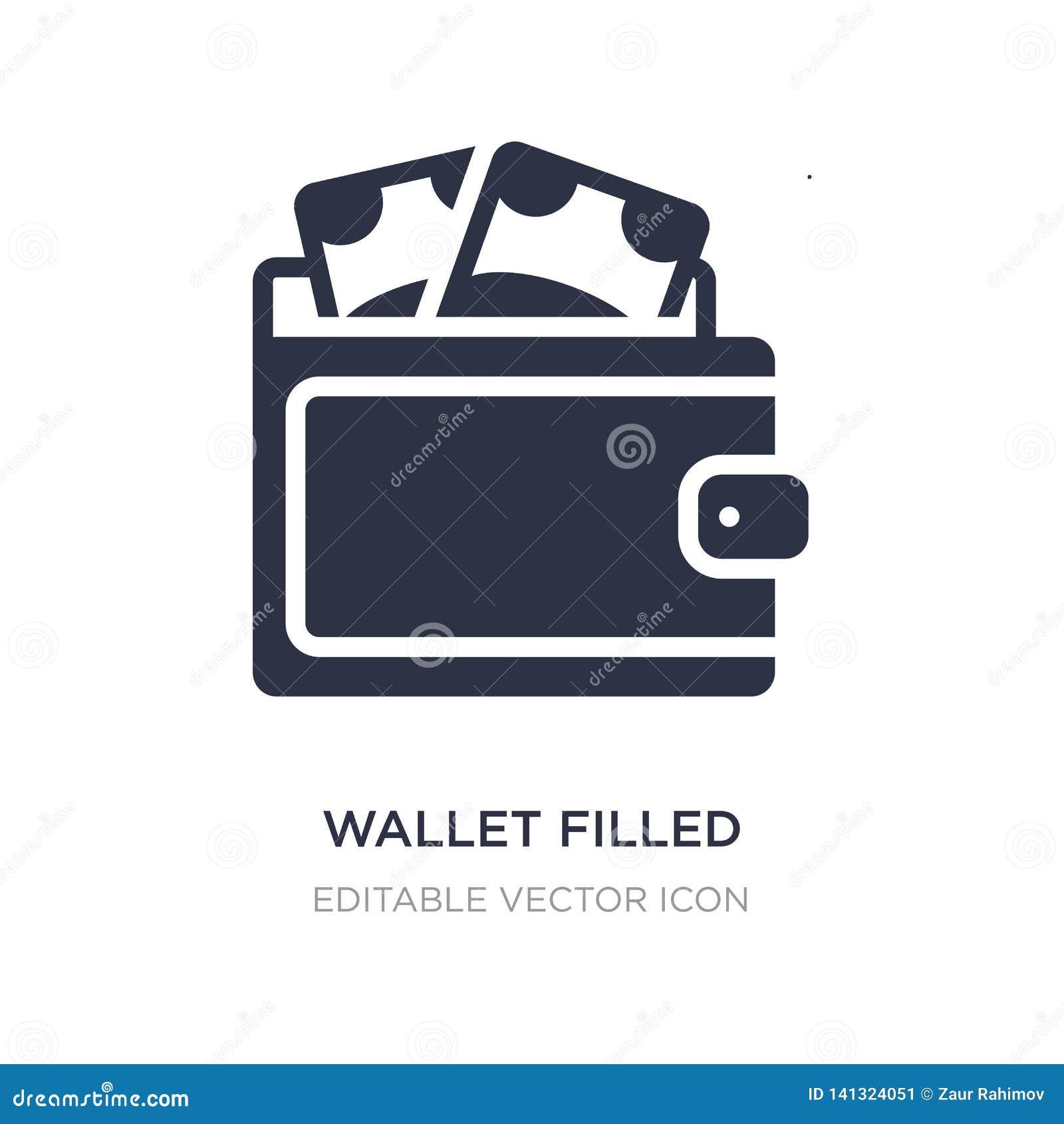 заполненный бумажником значок инструмента денег на белой предпосылке Простая иллюстрация элемента от концепции коммерции
