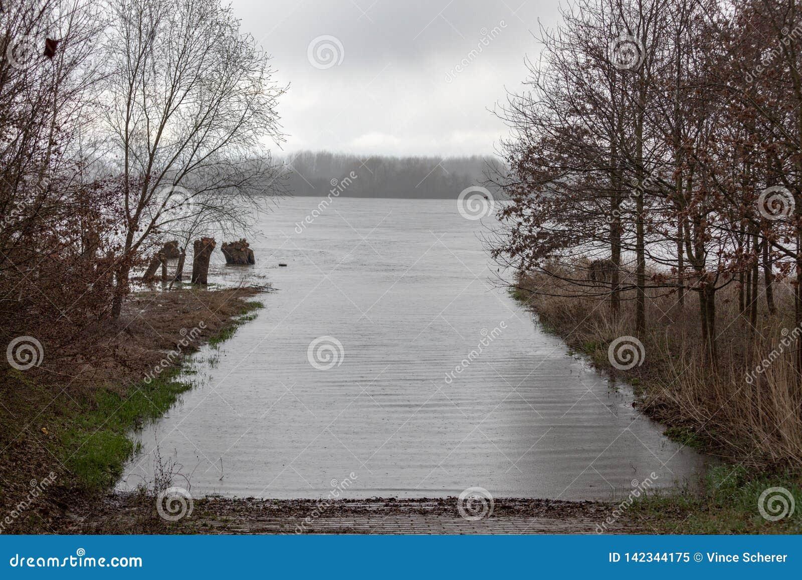 Затоплять на Рейне на Frankenthal в Германии