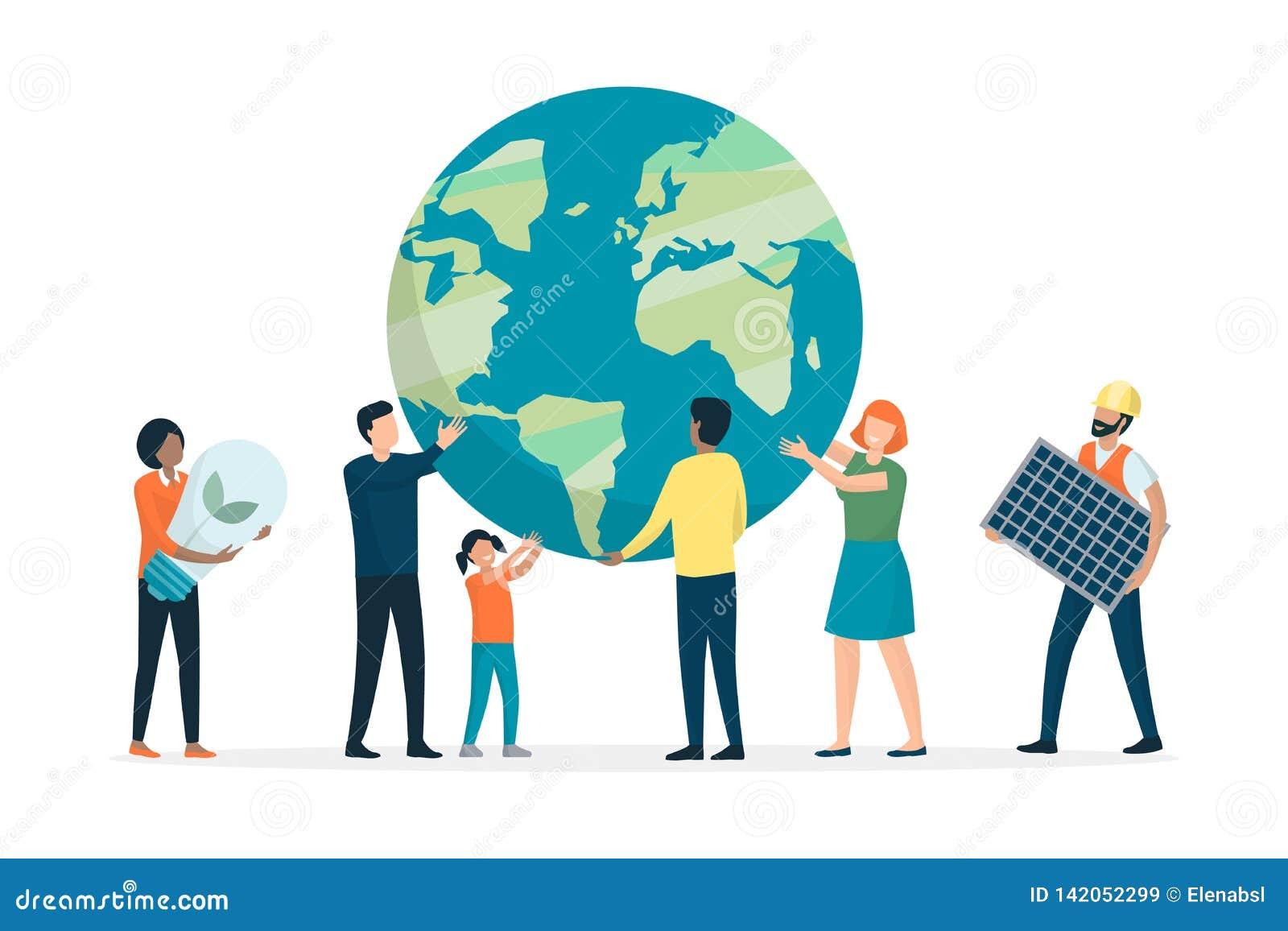 Земля и окружающая среда многонациональной группы людей поддерживая