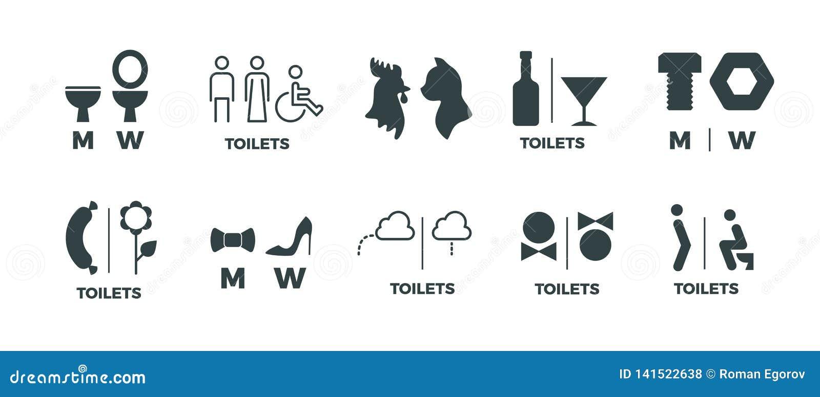 Знаки туалета Он она знаки направления bathroom символов, человека и женщины двери WC Значки вектора смешные пиктограммы уборной