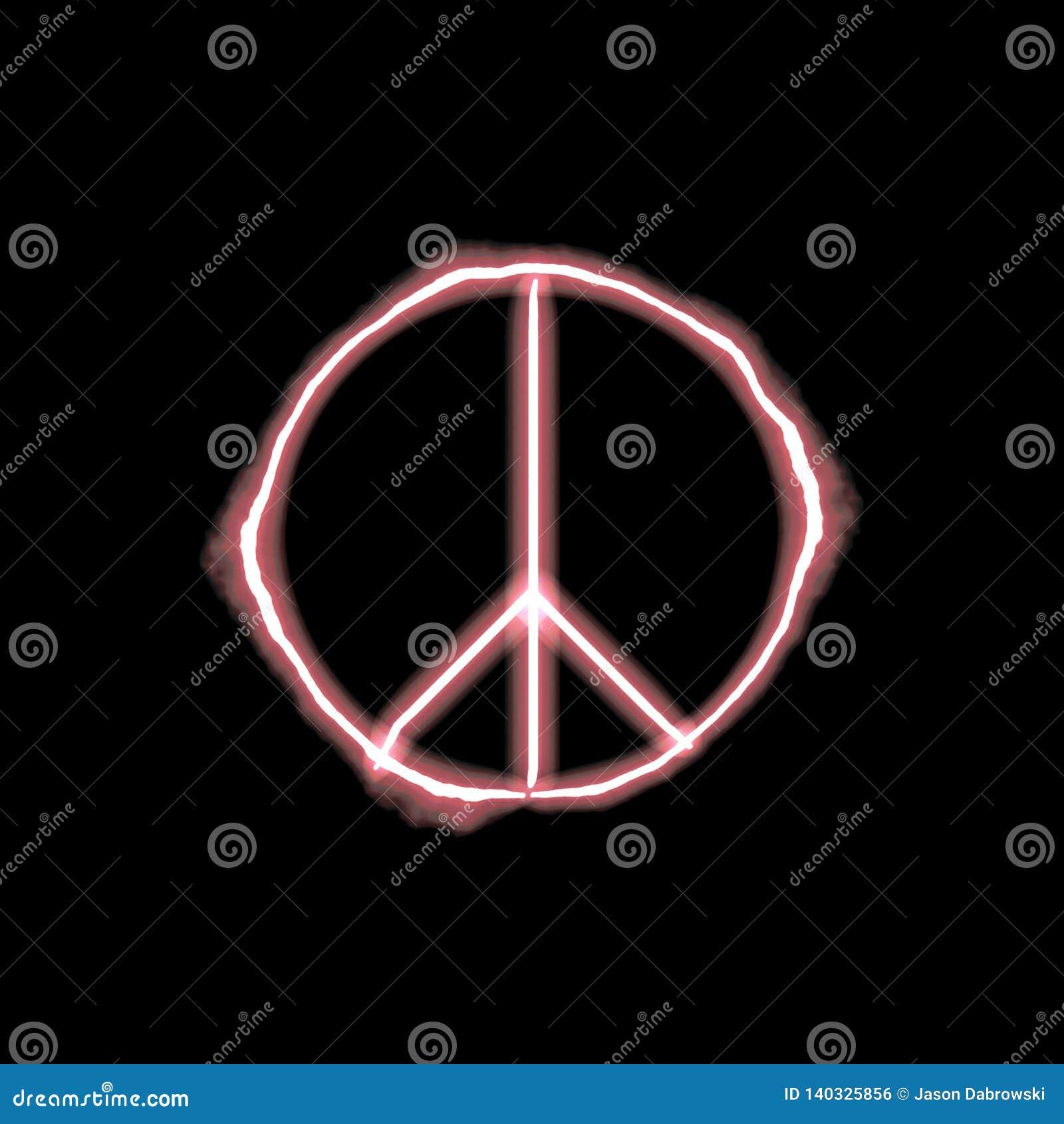 Знак мира Firey неоновый