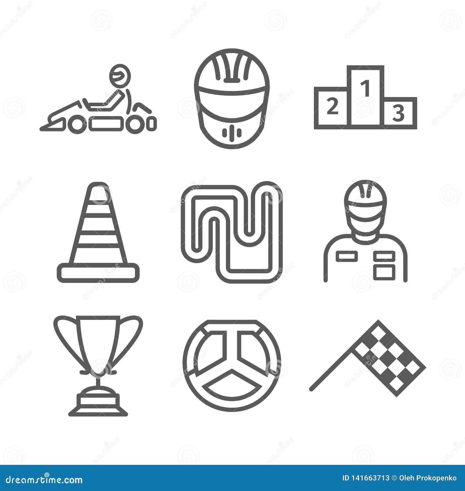 Знамя Karting Линия комплект значка Знаки гонок скорости также вектор иллюстрации притяжки corel