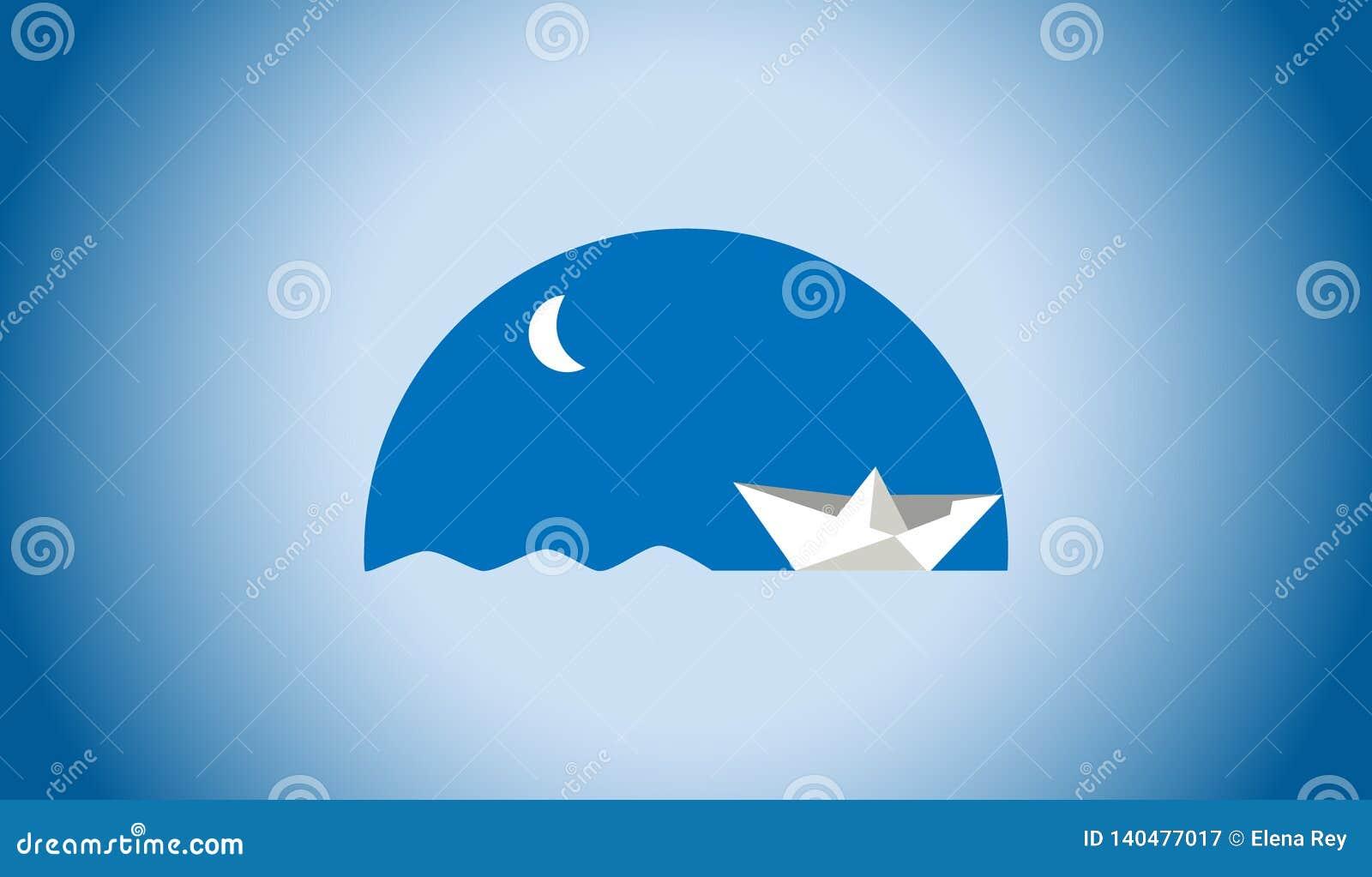 Значок бумажного плавания шлюпки в ночи