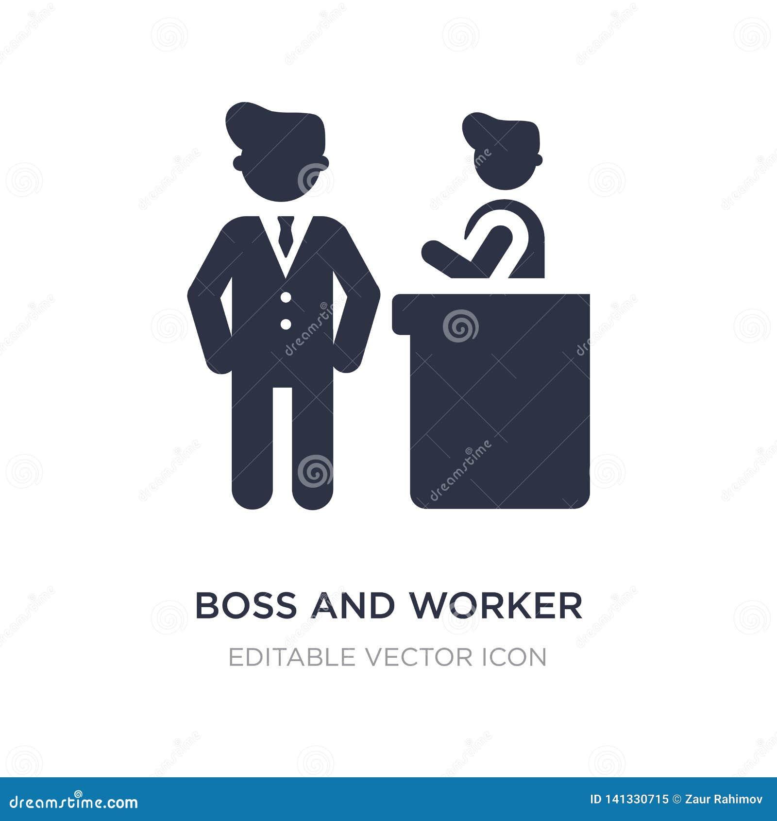 значок босса и работника на белой предпосылке Простая иллюстрация элемента от концепции людей