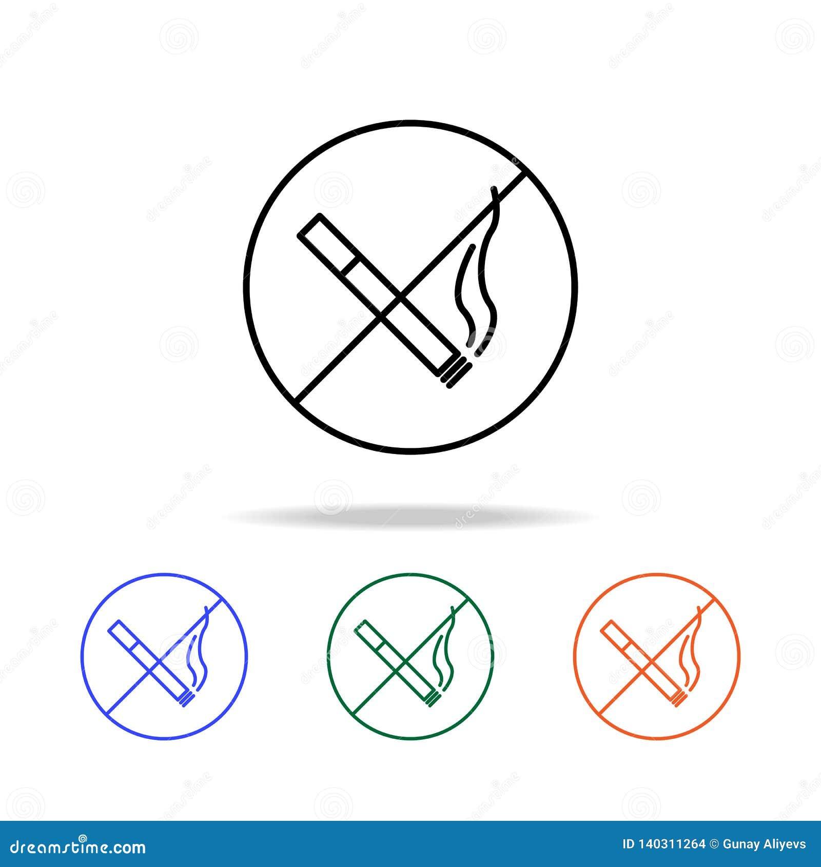 значок запрета на курение Элементы простого значка сети в multi цвете Наградной качественный значок графического дизайна Простой