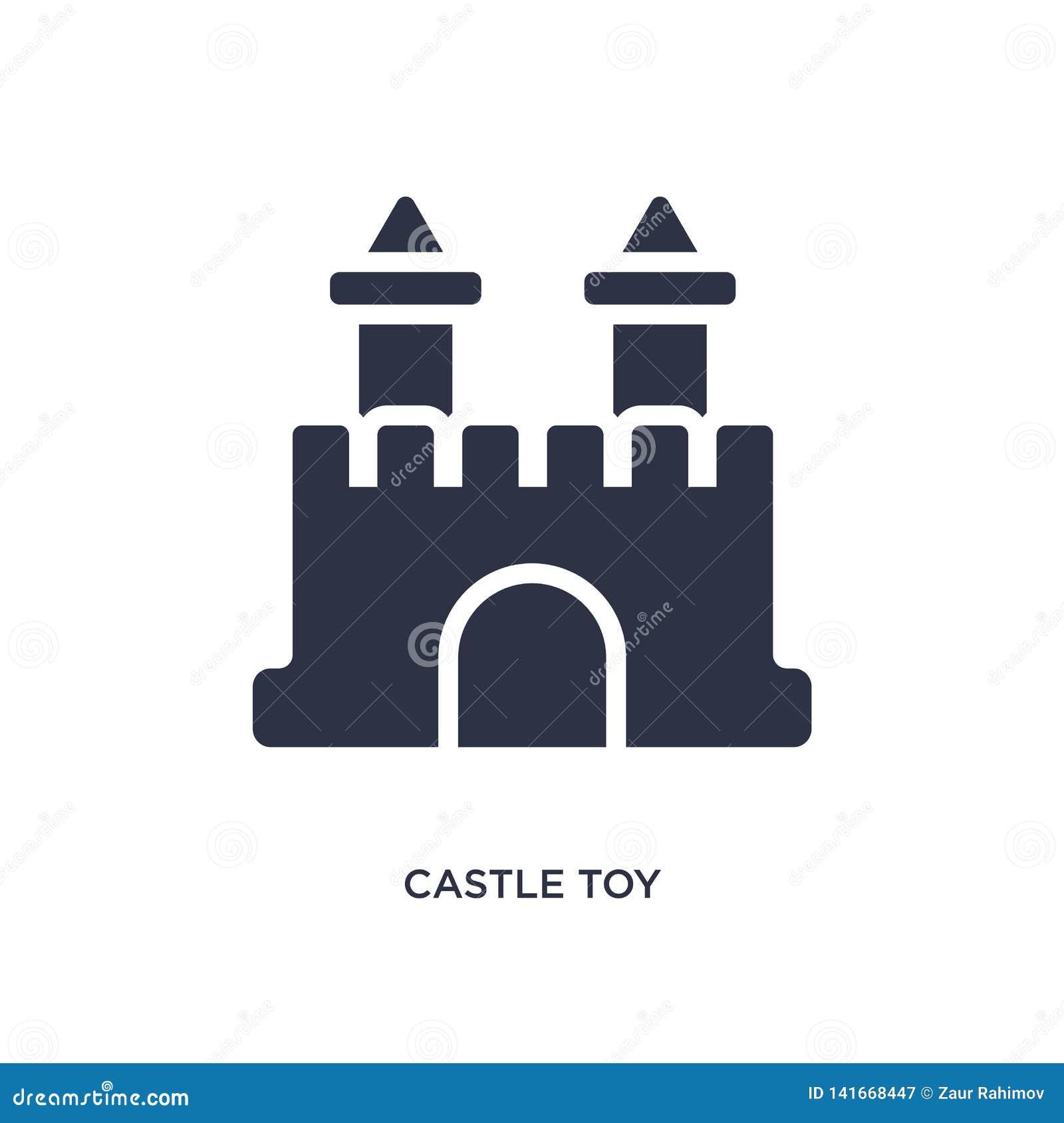 значок игрушки замка на белой предпосылке Простая иллюстрация элемента от концепции игрушек