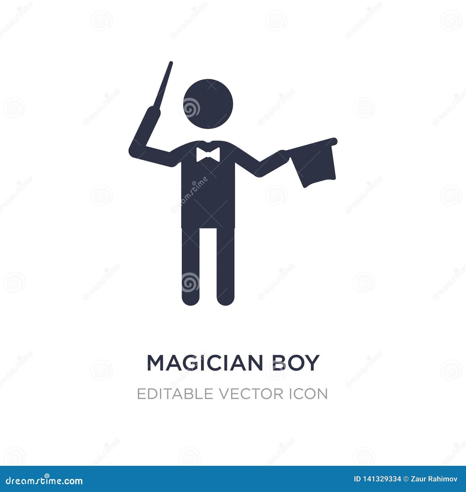 значок мальчика волшебника на белой предпосылке Простая иллюстрация элемента от концепции людей