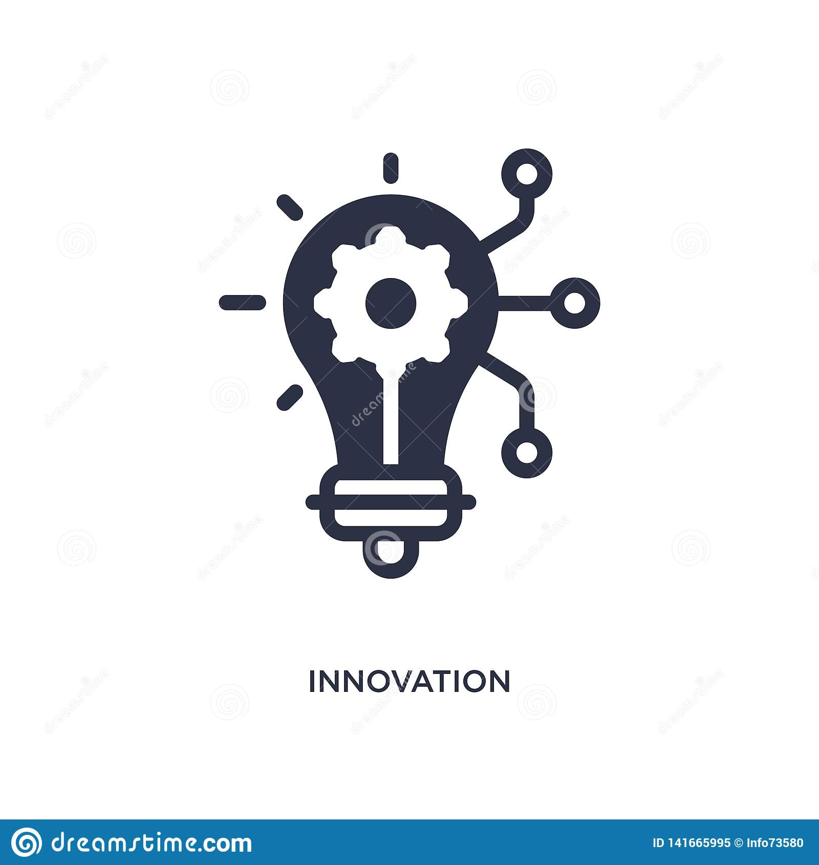 значок нововведения на белой предпосылке Простая иллюстрация элемента от выходя на рынок концепции