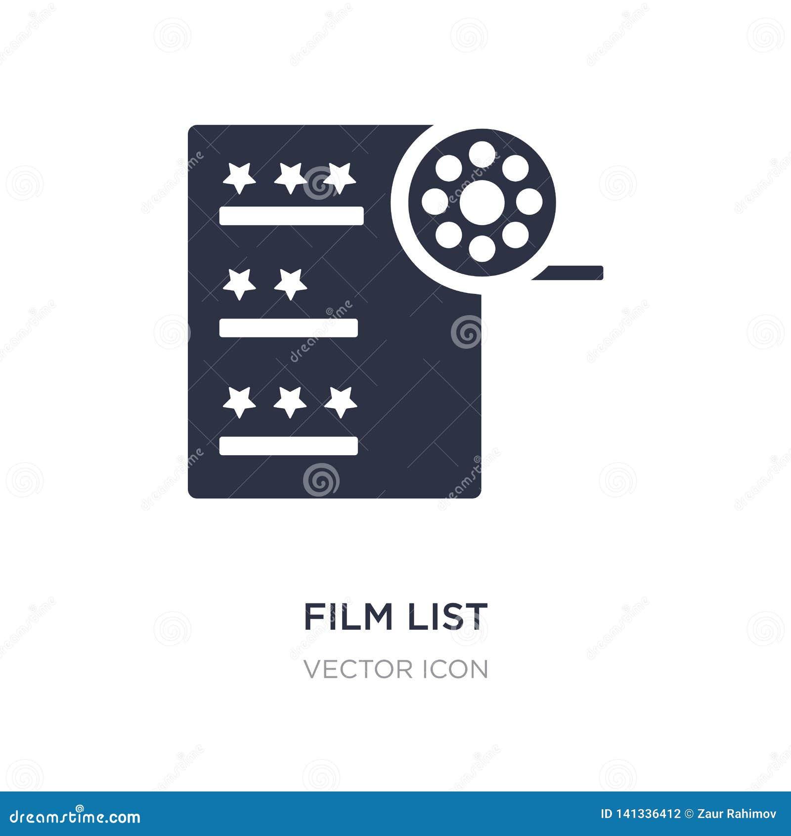 значок списка фильма на белой предпосылке Простая иллюстрация элемента от концепции UI