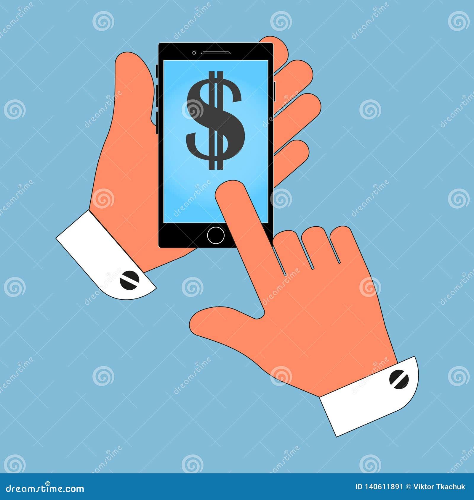 Значок телефона в руке, с символом доллара США на экране, изоляция на голубой предпосылке