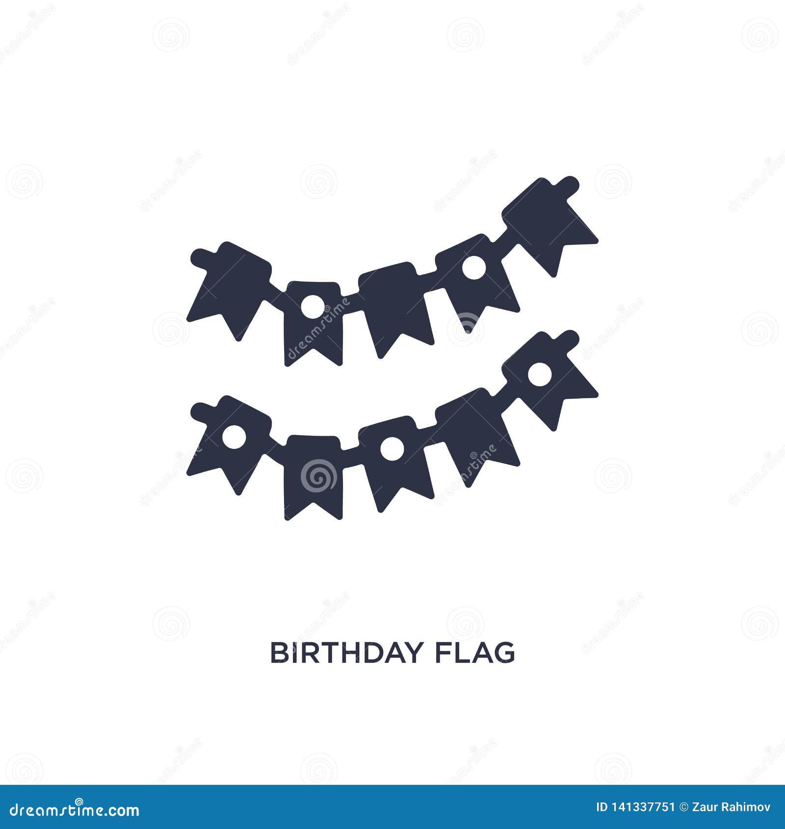 значок флага дня рождения на белой предпосылке Простая иллюстрация элемента от концепции дня рождения и свадьбы