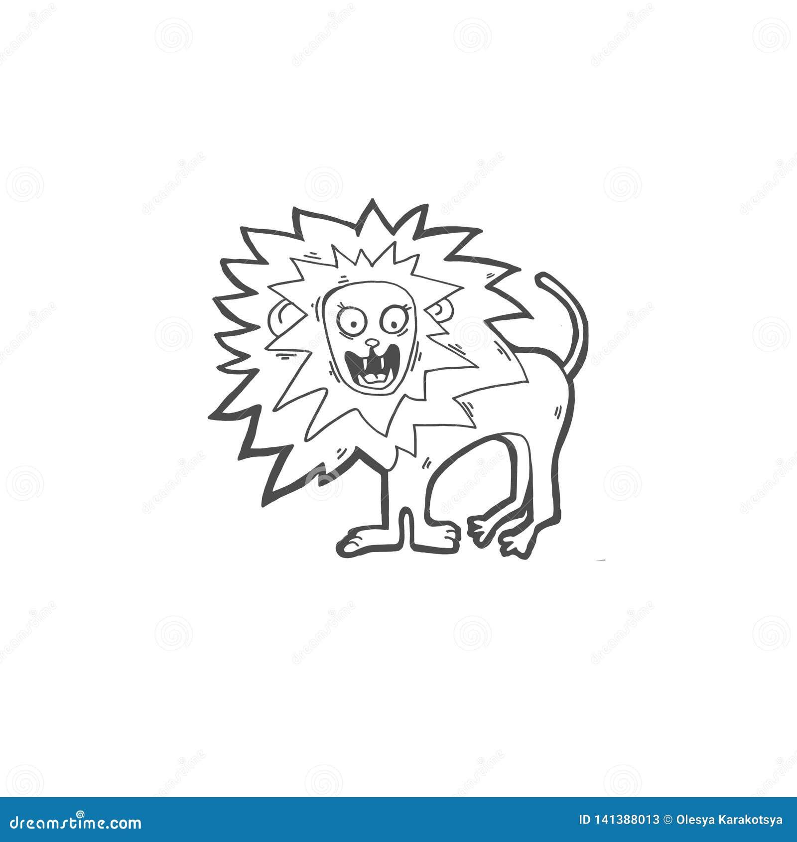 Значок doodle чертежа эскиза клекотов льва
