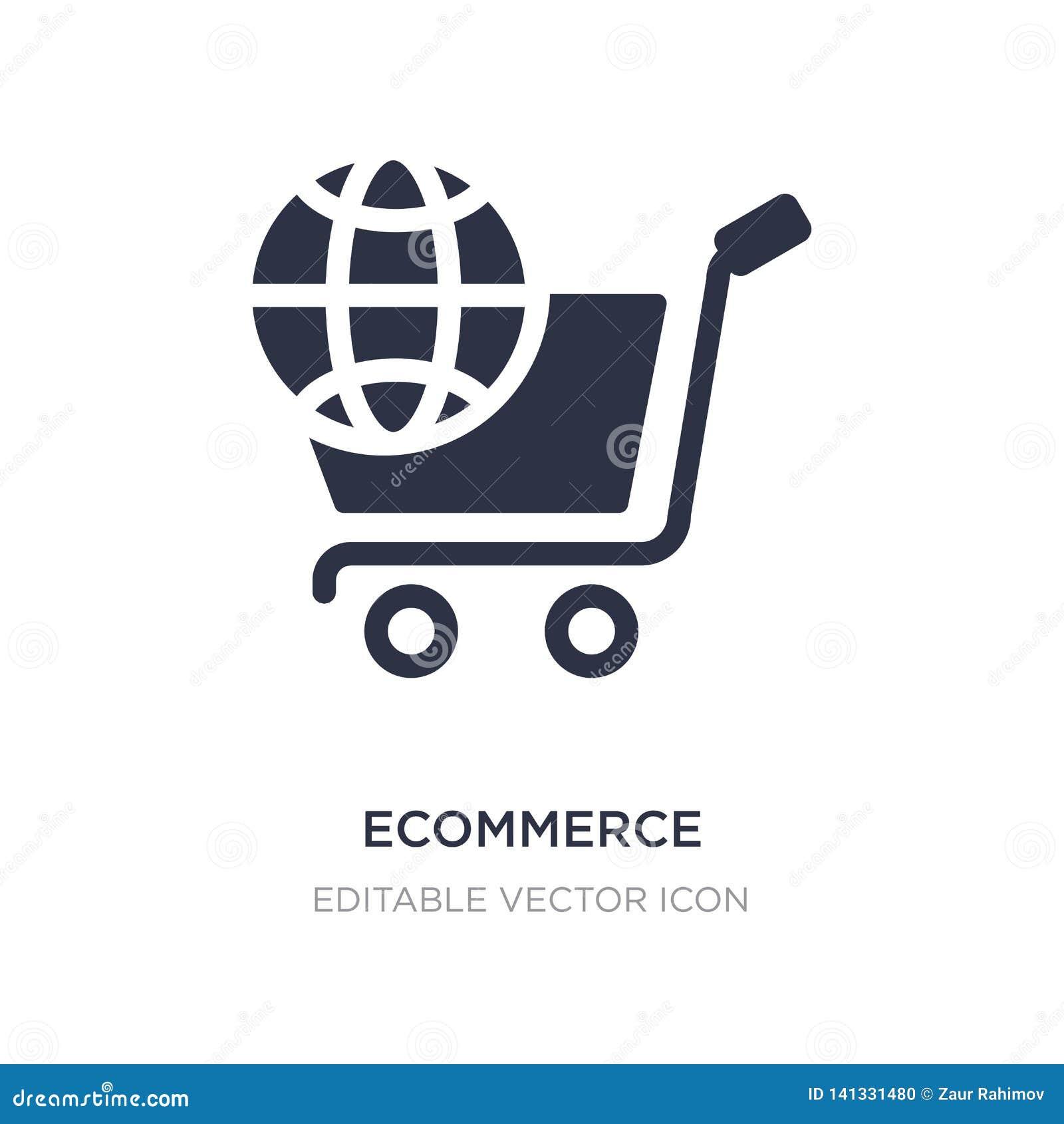 Значок Ecommerce на белой предпосылке Простая иллюстрация элемента от социальных средств массовой информации выходя концепцию выш