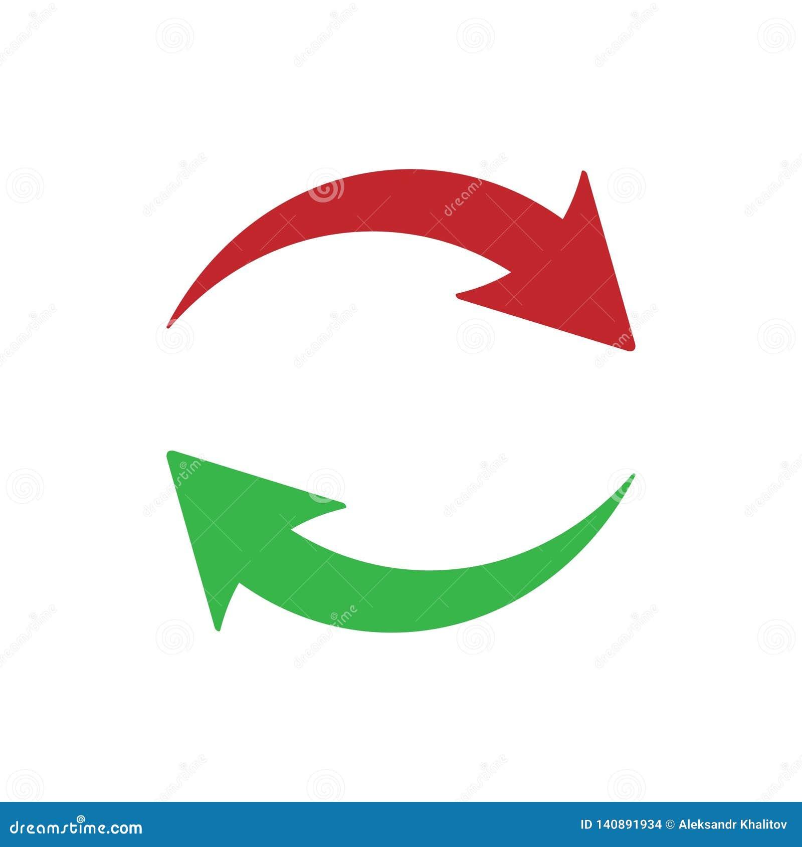 Значок обновления на белой предпосылке красный цвет стрелок зеленый значок обновления от средств массовой информации Ультрамодный
