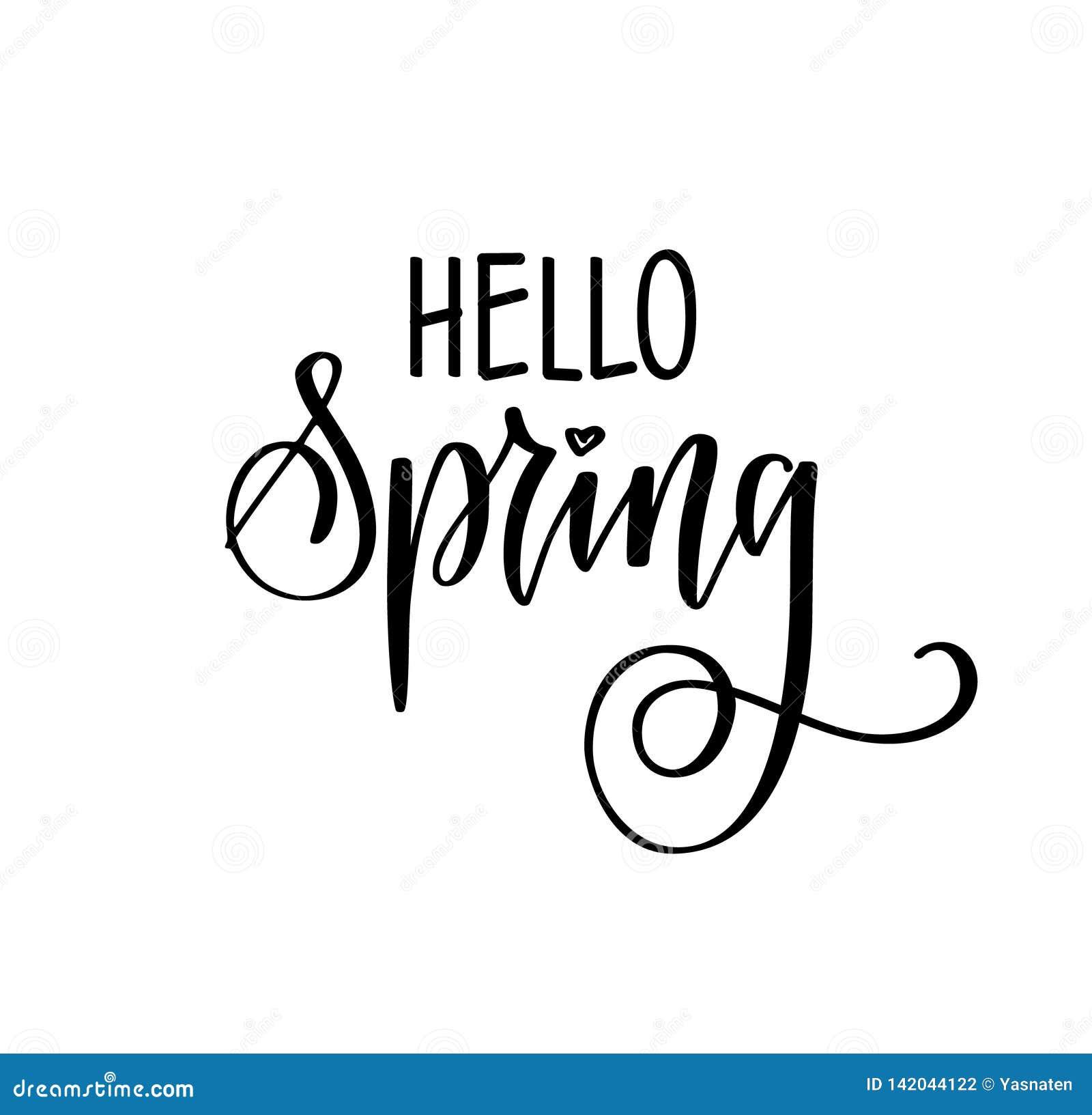 Здравствуйте приветствия вектора весны сезонные вручают вычерченную современную каллиграфию