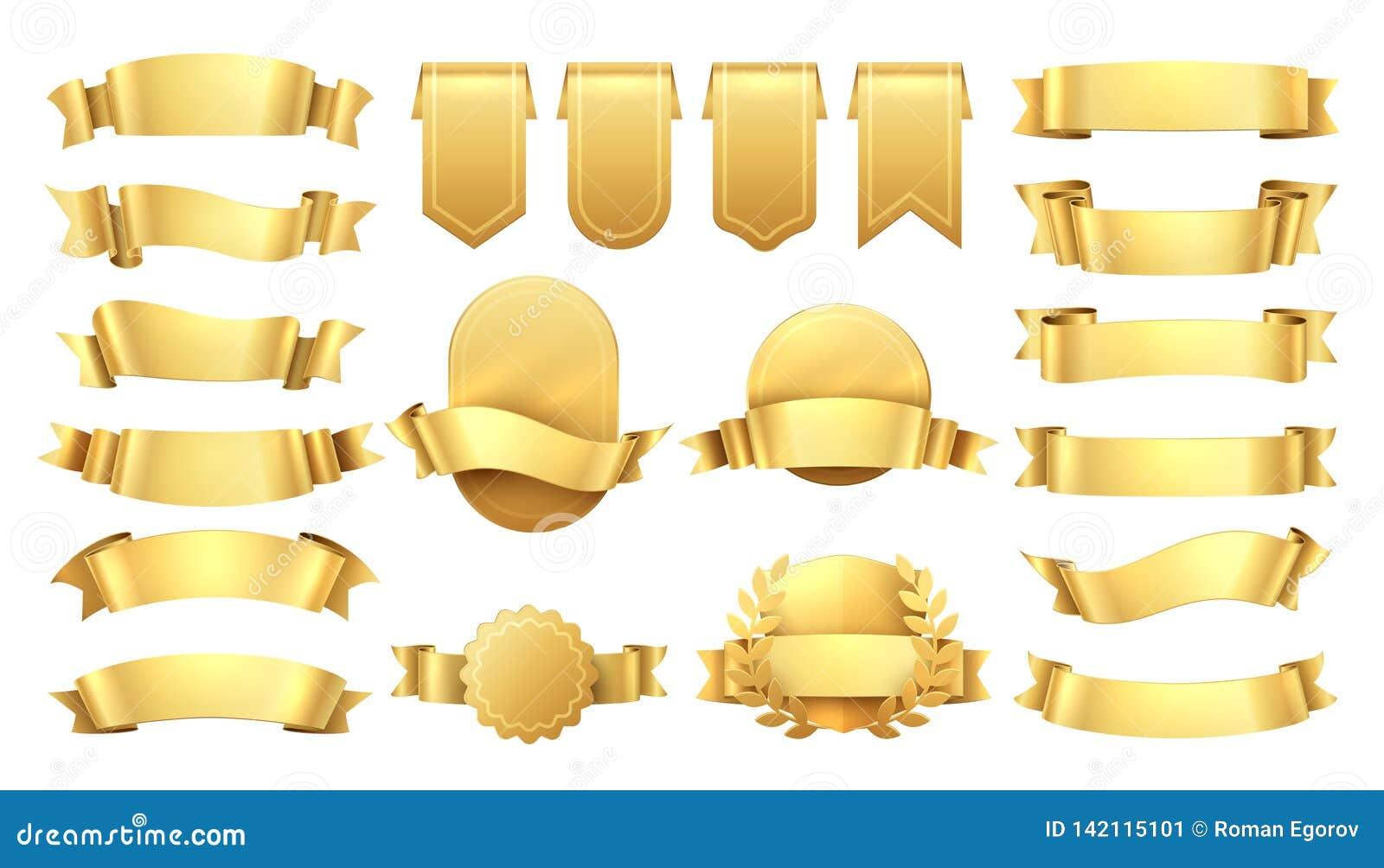 золотистые тесемки Сияющие старые ярлыки, элементы знамени волны, украшение продвижения ретро, желтая продажа цены Реалистический