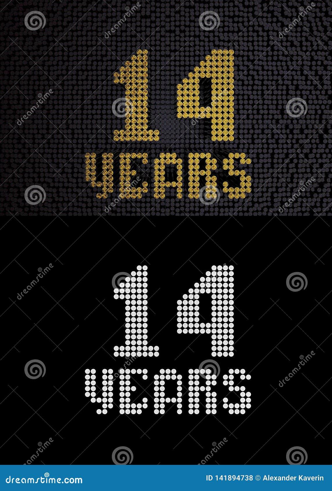 Золотой 14 лет 3d представляют