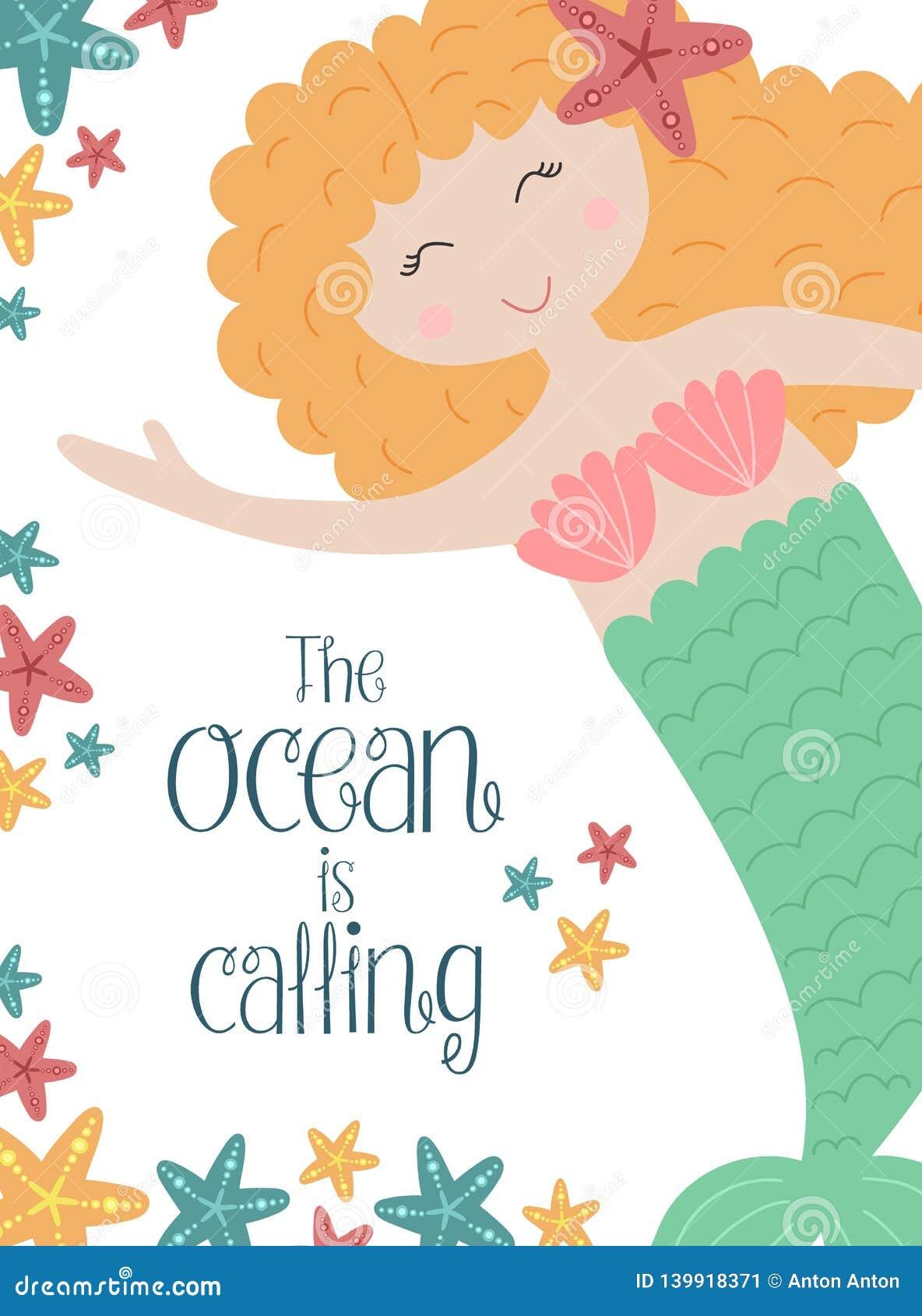 Изображение вектора милой маленькой русалки с красными волосами и морскими звёздами подводными Иллюстрация для девушки, день рожд