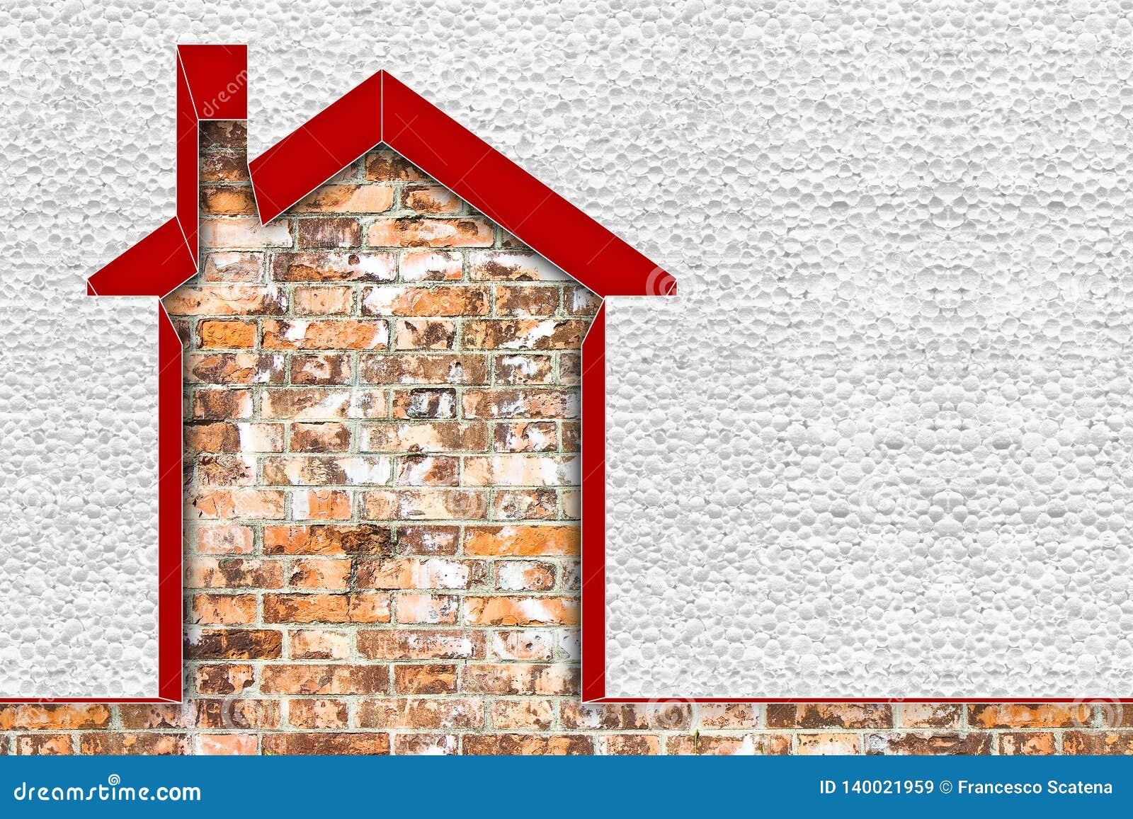 Изображение концепции выхода по энергии зданий - 3D представить домой термально изолированный со стенами полистироля