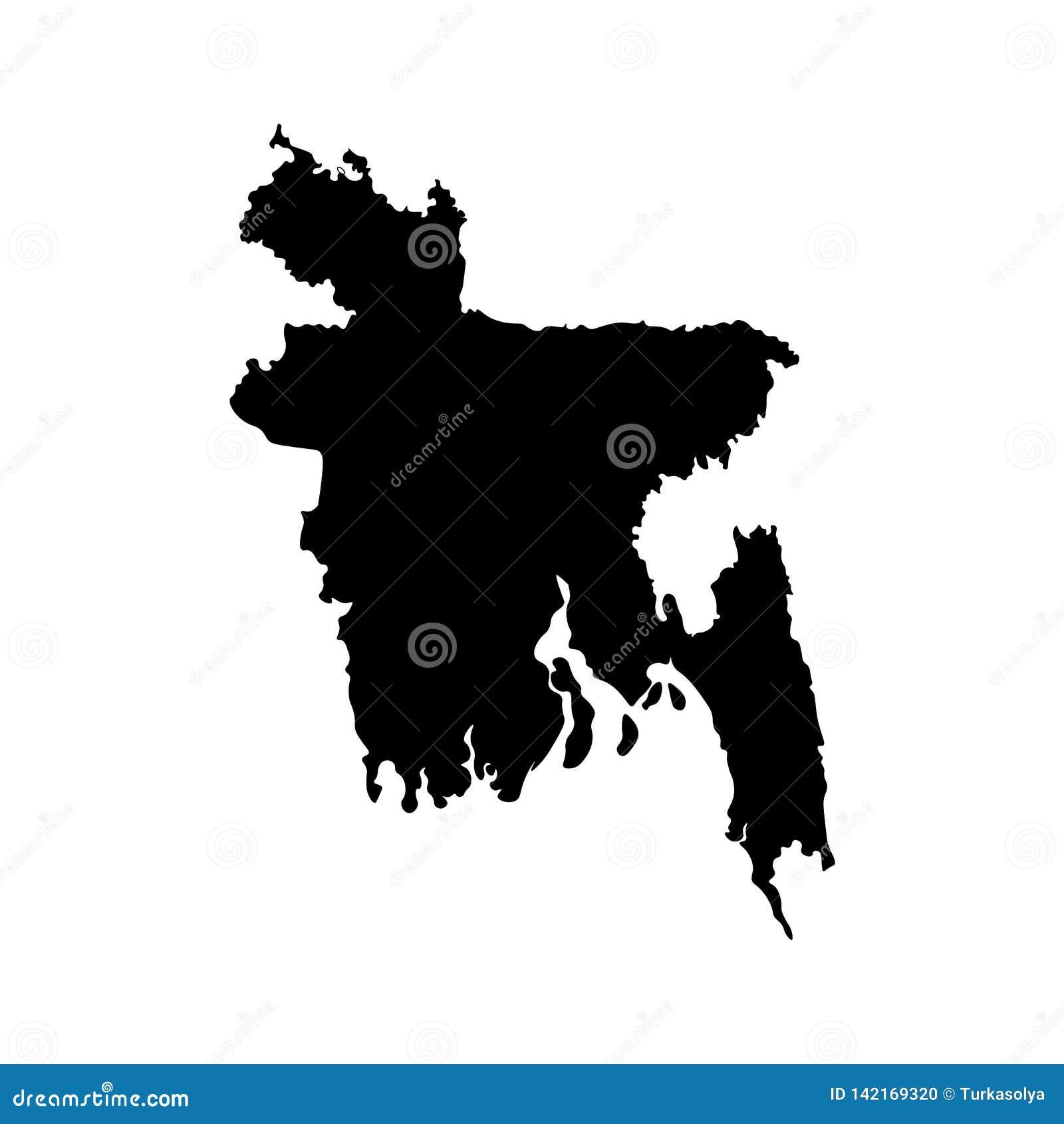 Изолированный вектором значок иллюстрации с упрощенной картой Народной Республики Бангладеш