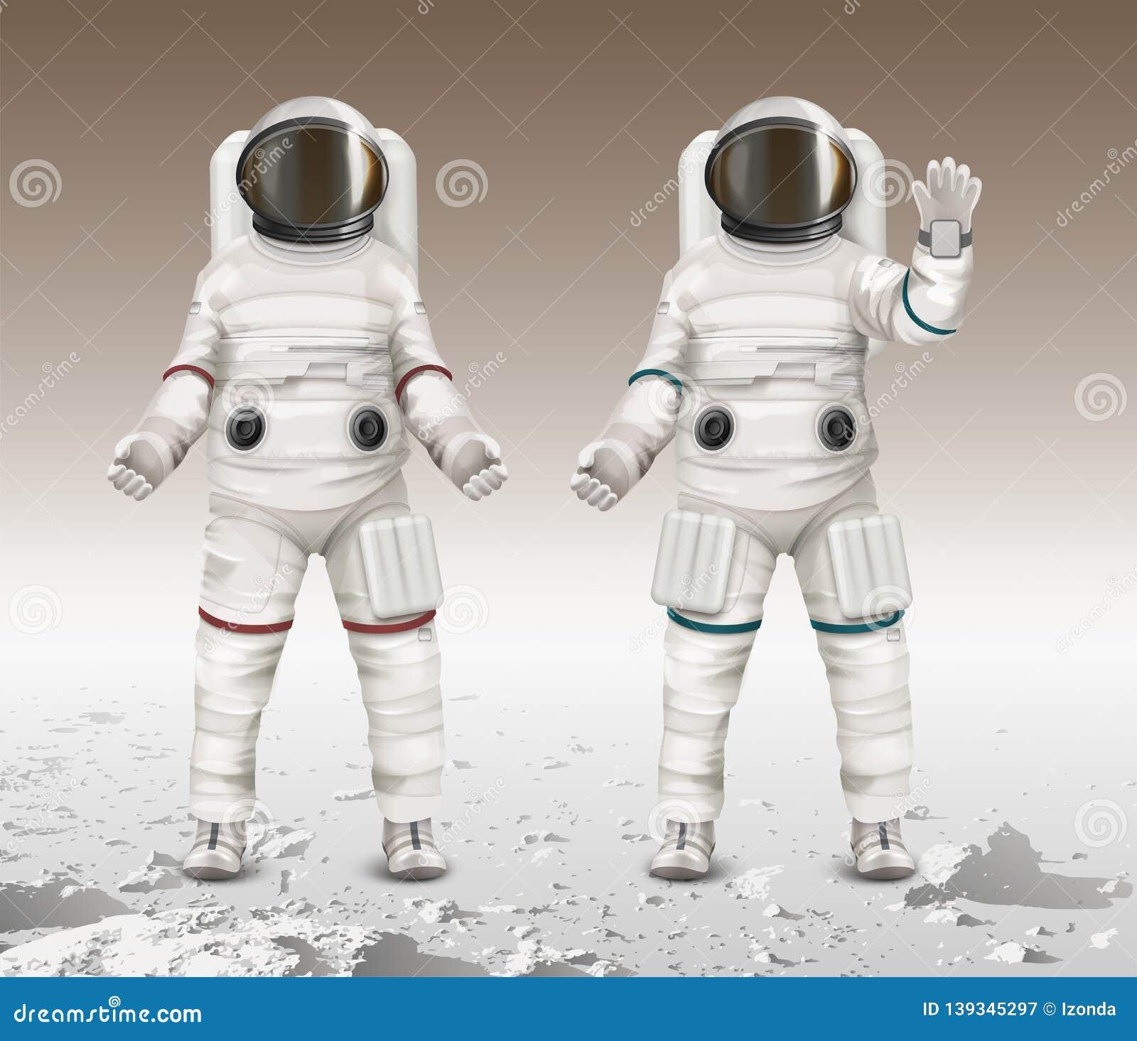 Иллюстрация вектора 2 астронавтов нося космические костюмы и идти исследовать повреждает на луне
