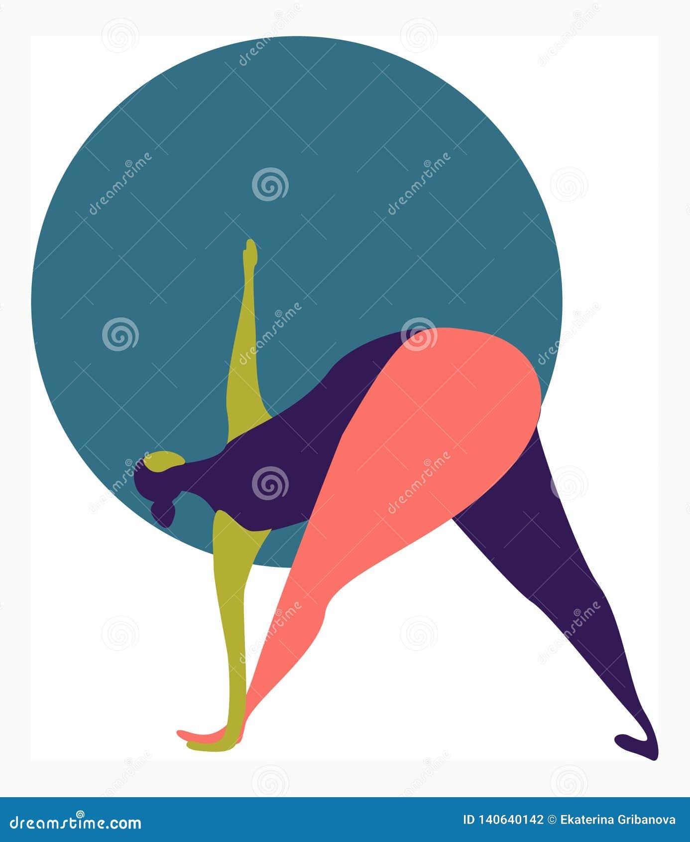 Иллюстрация вектора жирной женщины делая йогу