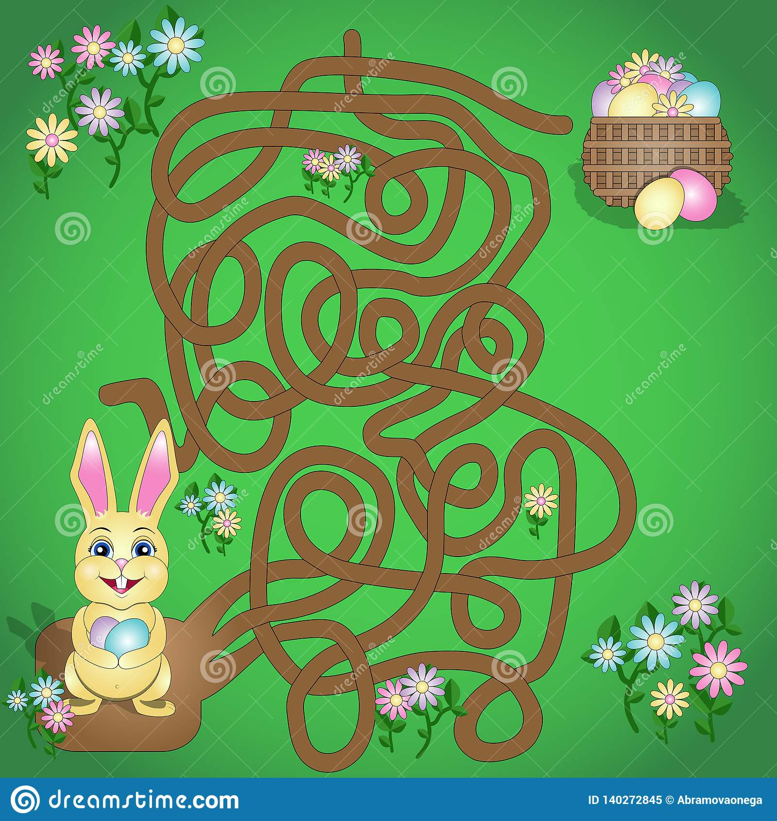 Иллюстрация вектора игра лабиринта потехи для детей Помогите зайчику пасхи для обнаружения его корзины