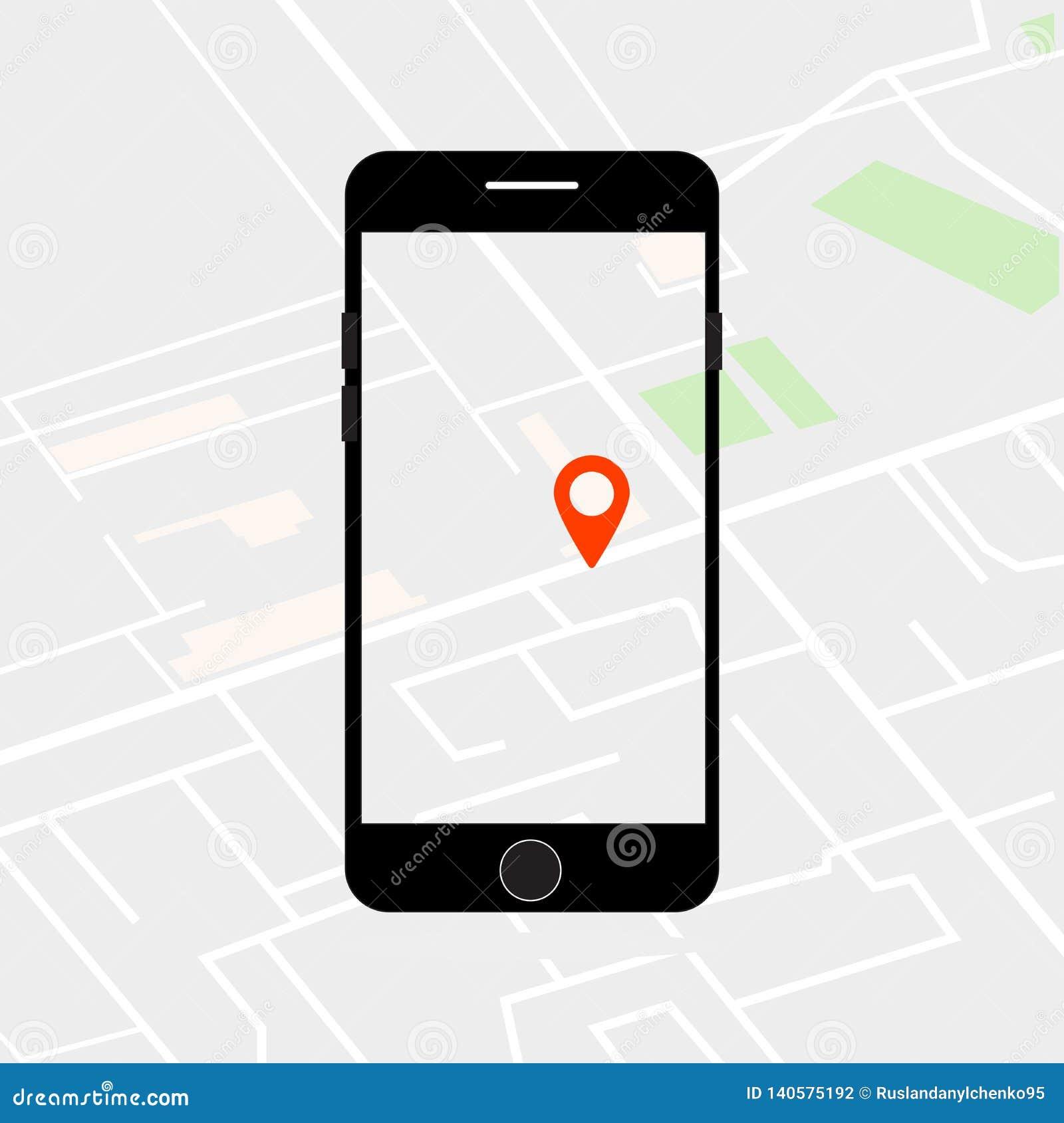 Иллюстрация вектора поиска положения на экране телефона