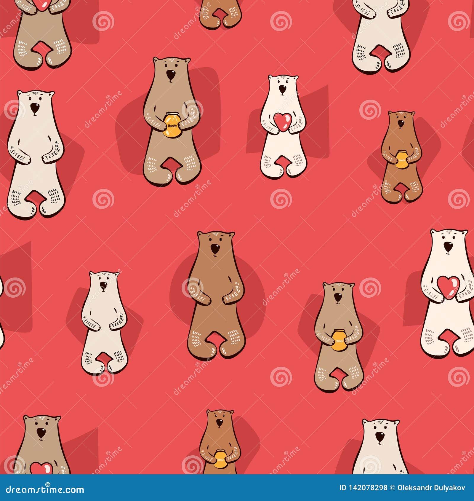 Иллюстрация вектора с картиной стильного мультфильма безшовной Медведь с медом, сердцами краснокоричневая белая печать стиля dood