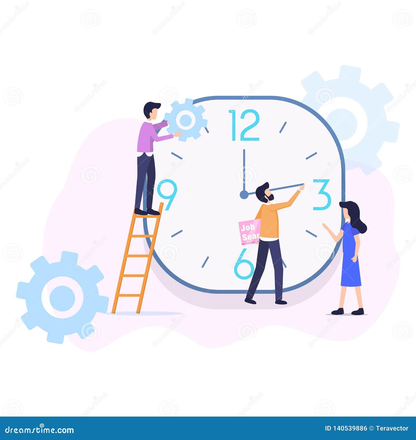 Иллюстрация вектора организации контроля времени