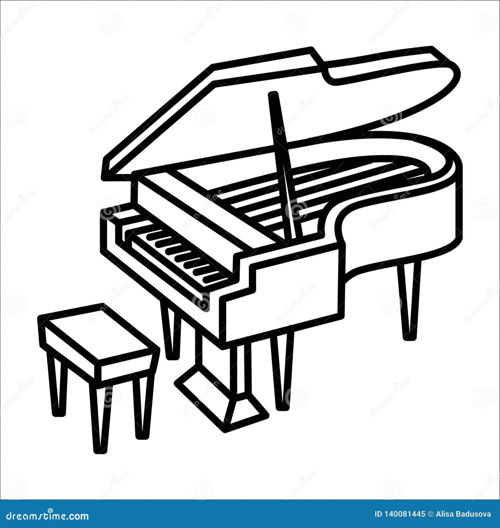 Иллюстрация значка и вектора аппаратуры музыки рояля