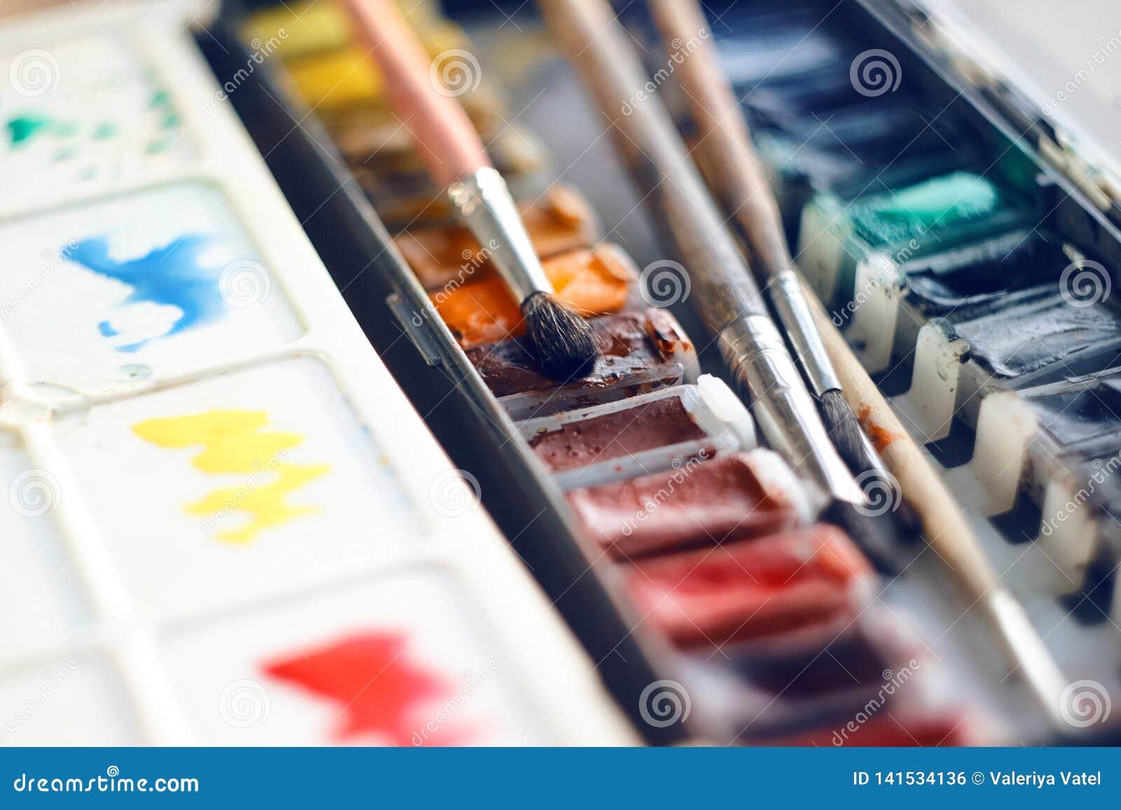 Искусство установило винтажной палитры красок акварели в кюветках и нескольких щеток