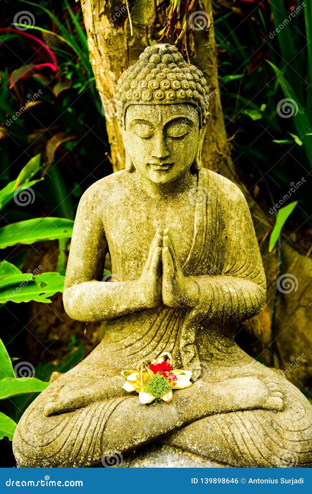 Каменная статуя Будды сидя моля и размышляя для духа души тела разума