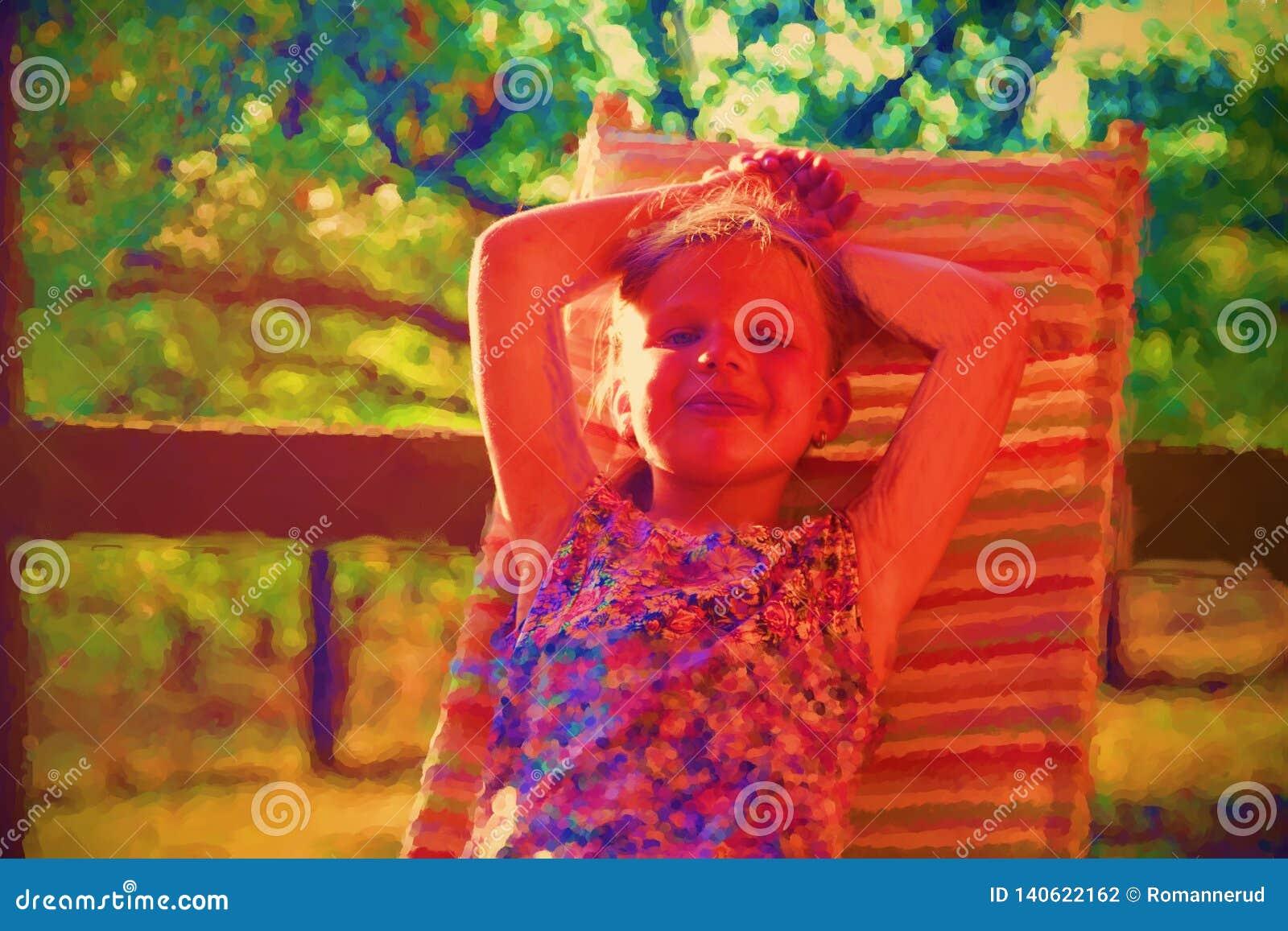 Картина акварели цифров милой маленькой девочки Девушка сидя на гостиной сада на verandah