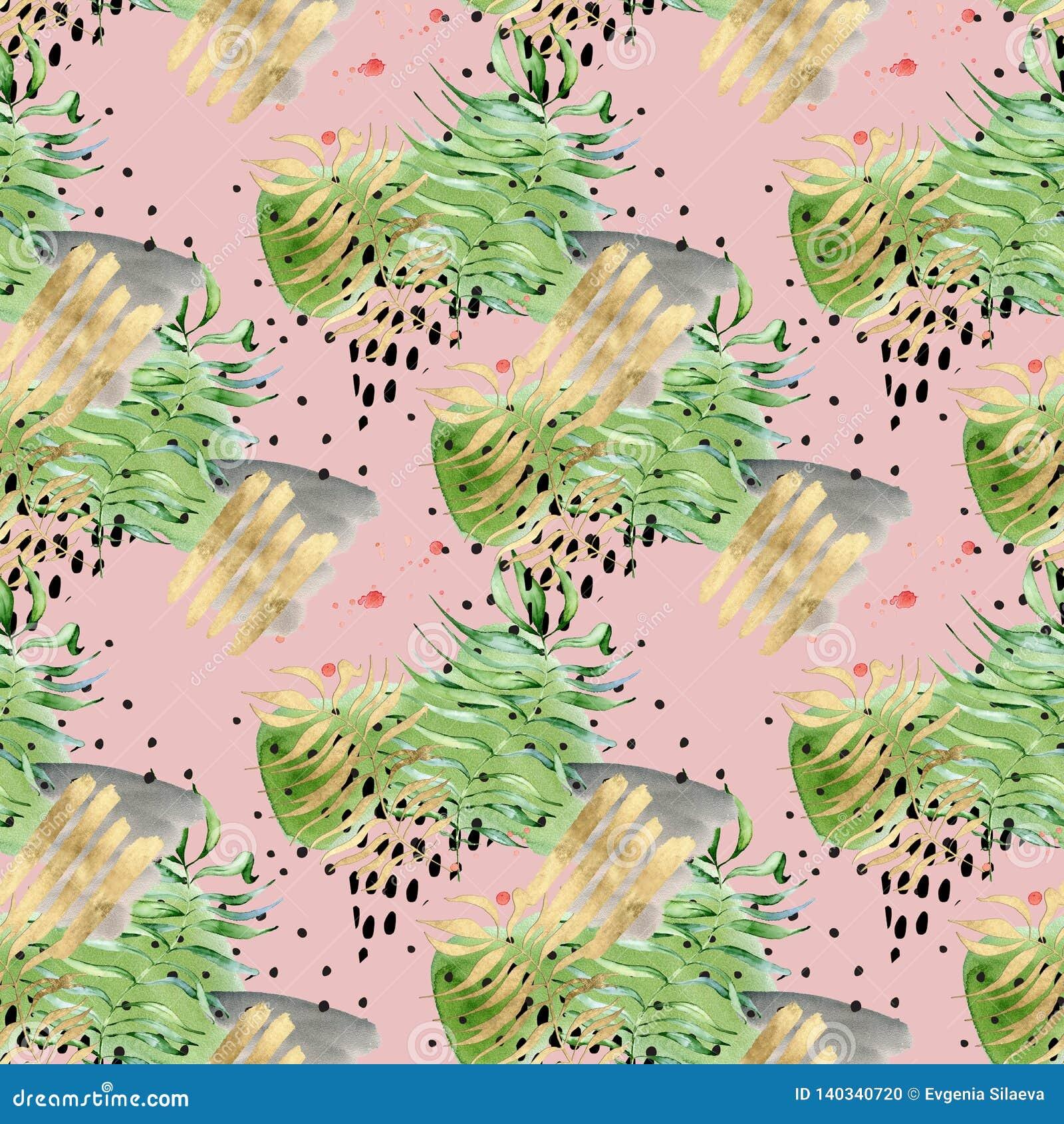 Картина Мемфиса конспекта коллажа тропическая безшовная Формы листьев акварели тропические, черных руки вычерченные и золота