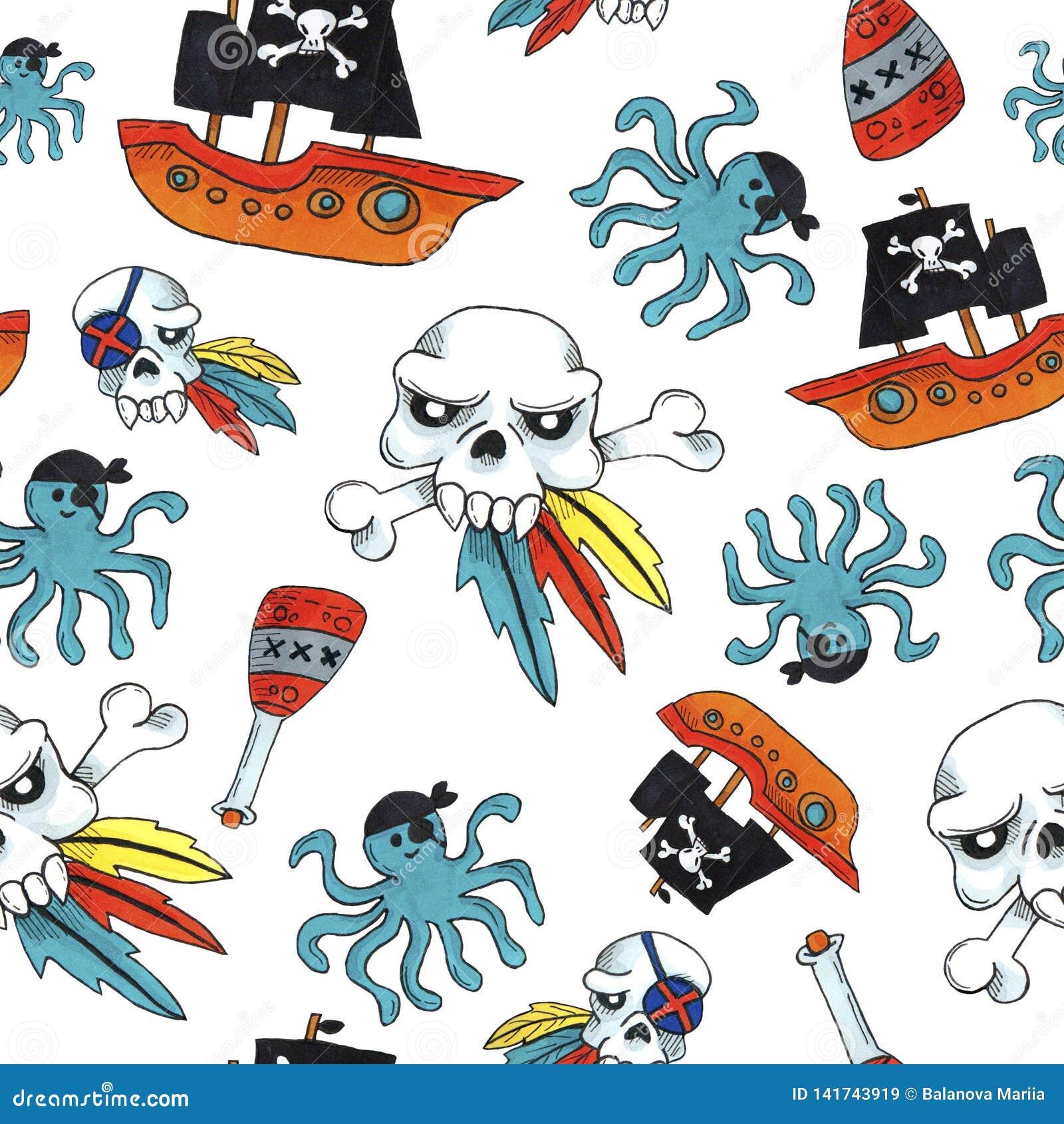 Картина пирата безшовная красочные объекты повторяя предпосылку для сети и цели печати