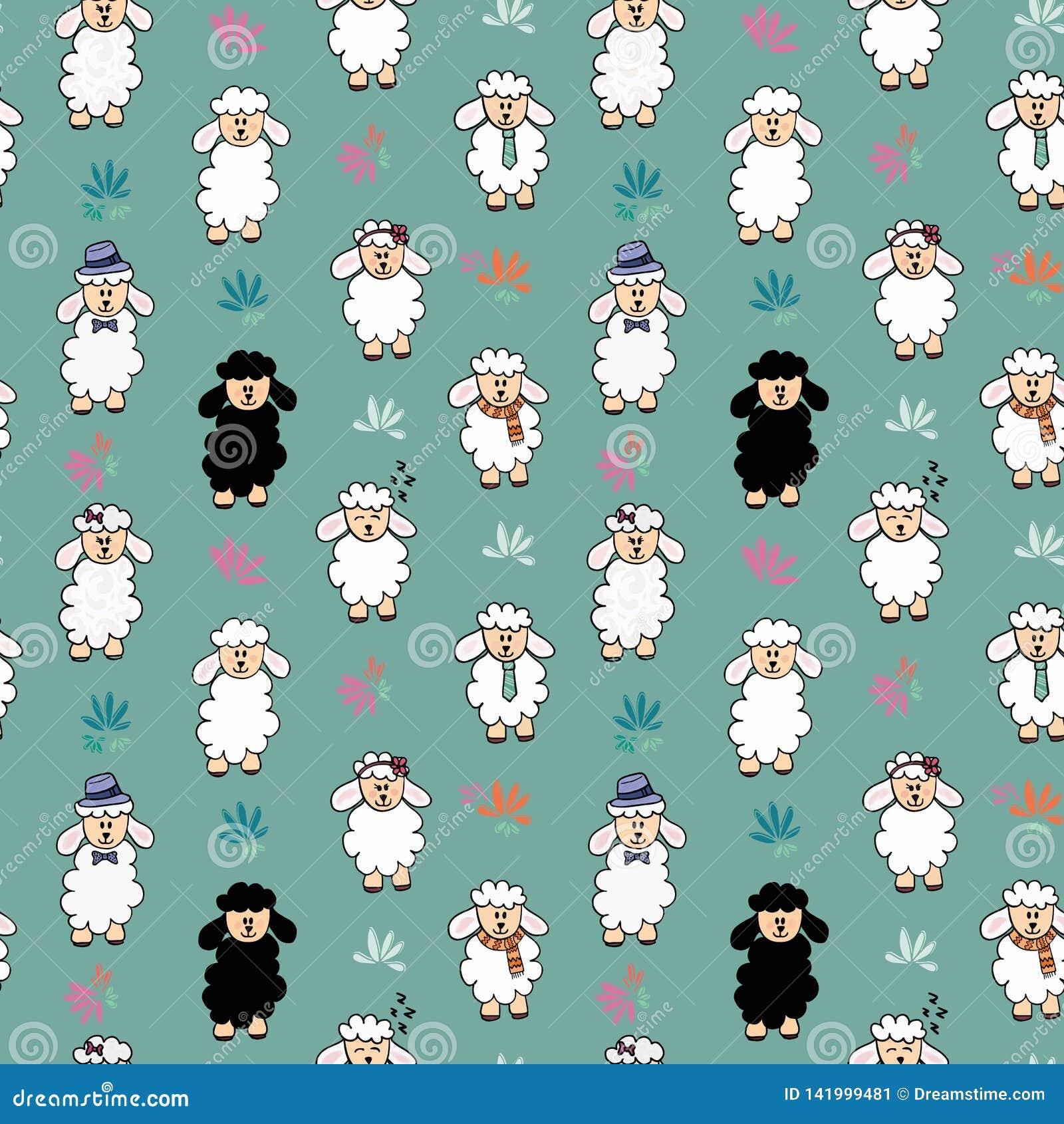 Картина предпосылки овец безшовного вектора смешная с цветком Овцы с различными аксессуарами