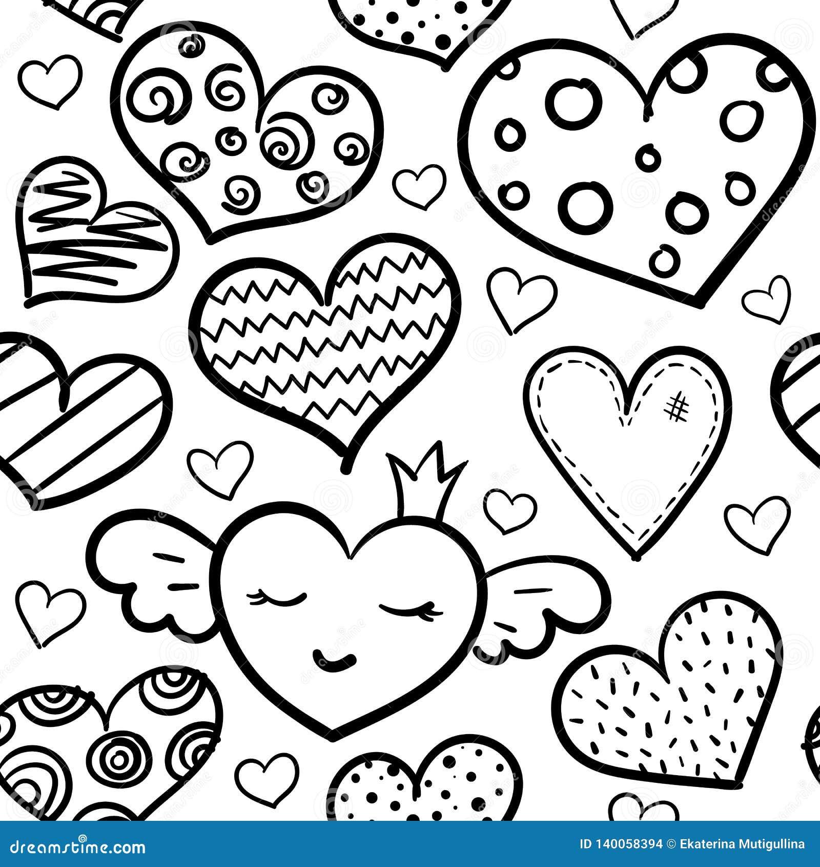 Картина сердец Doodle безшовная