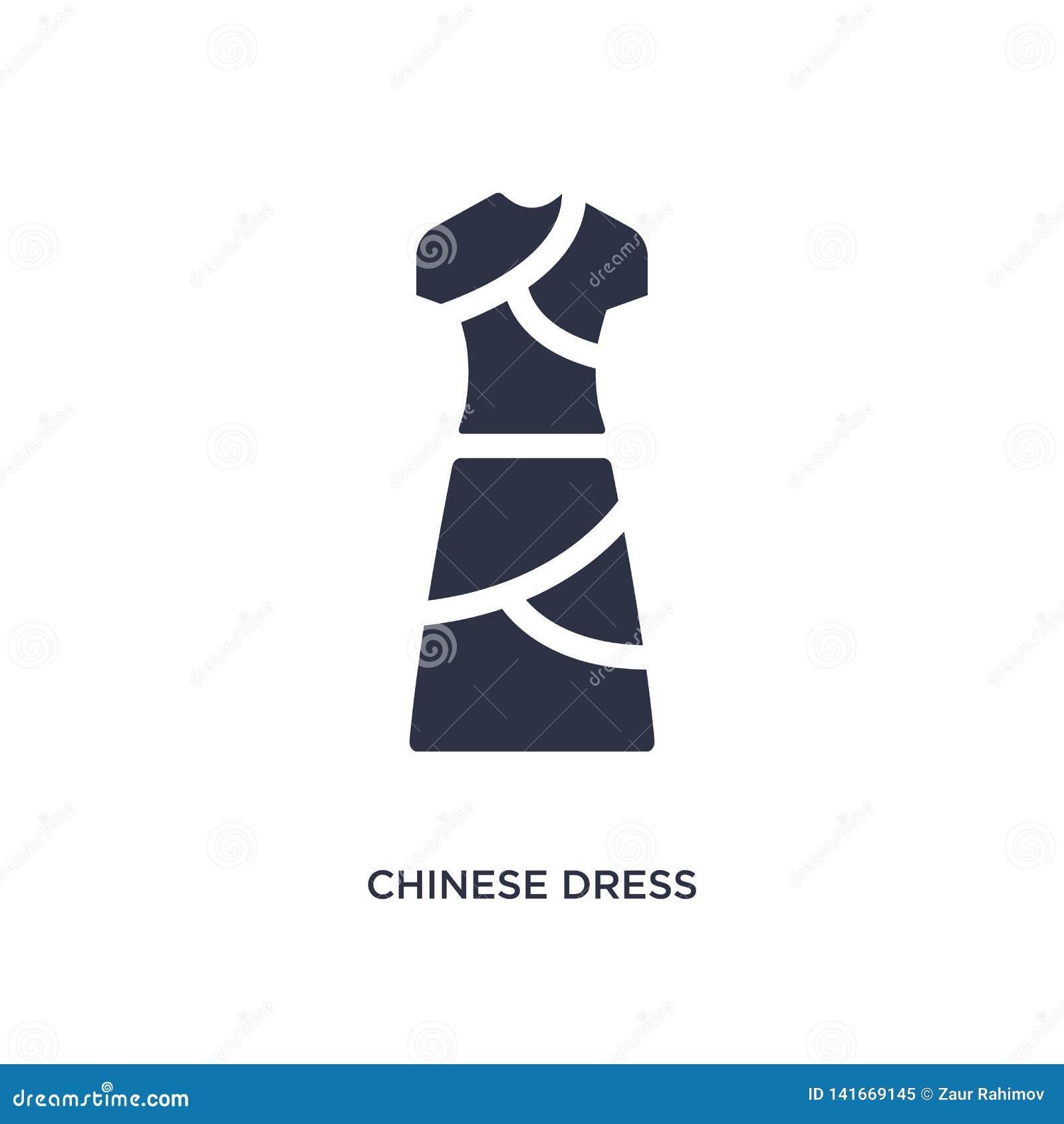китайский значок платья на белой предпосылке Простая иллюстрация элемента от азиатской концепции