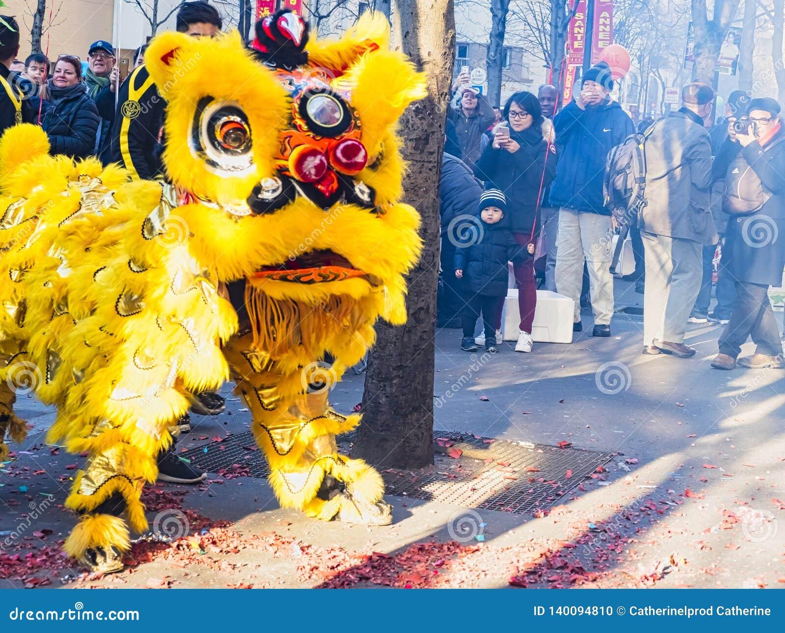 Китайский Новый Год Париж 2019 Франция - танцы льва