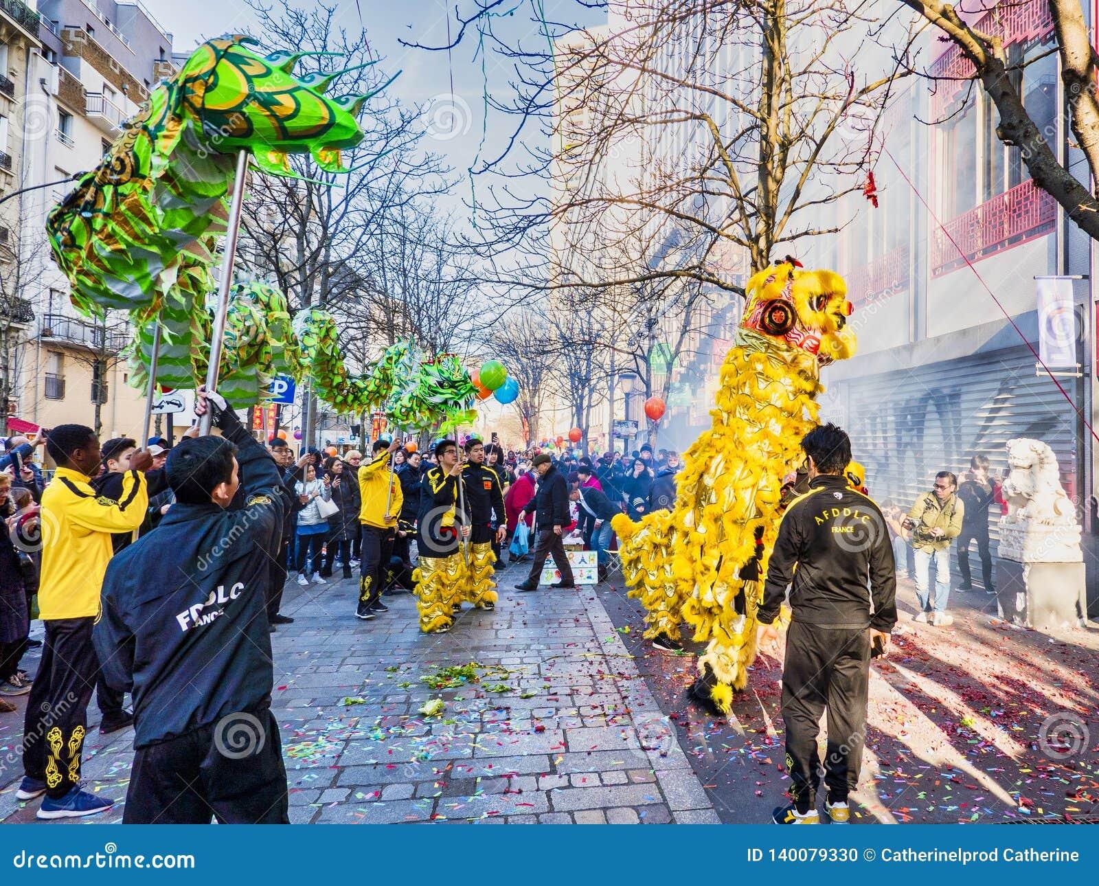Китайский Новый Год Париж 2019 Франция - танцы дракона