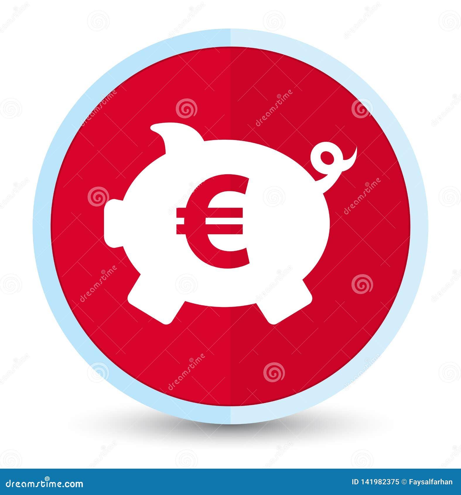 Кнопка значка знака евро копилки плоская основная красная круглая