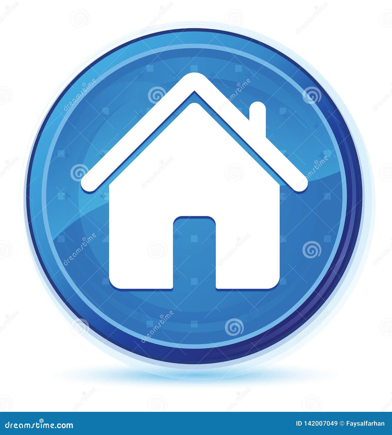 Кнопка домашней полночи значка голубая основная круглая