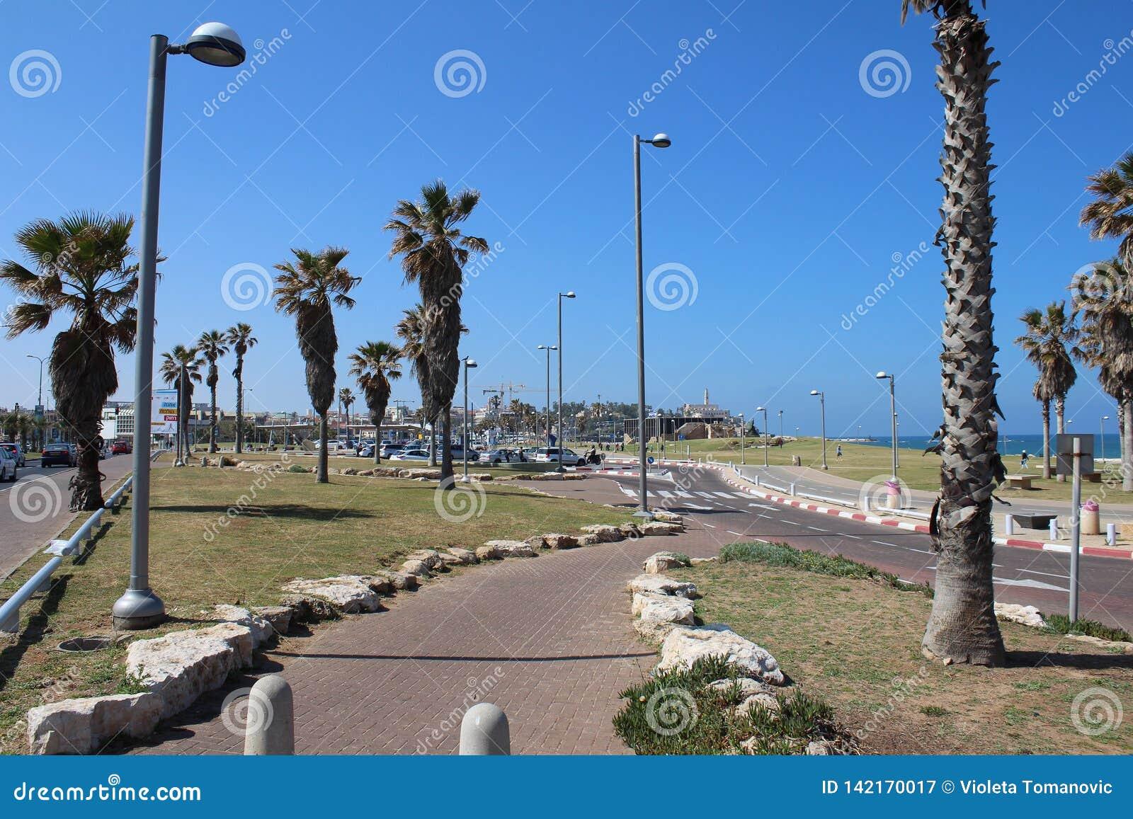 Красивый старый городок, вид на море в Яффе, Тель-Авив, Израиле