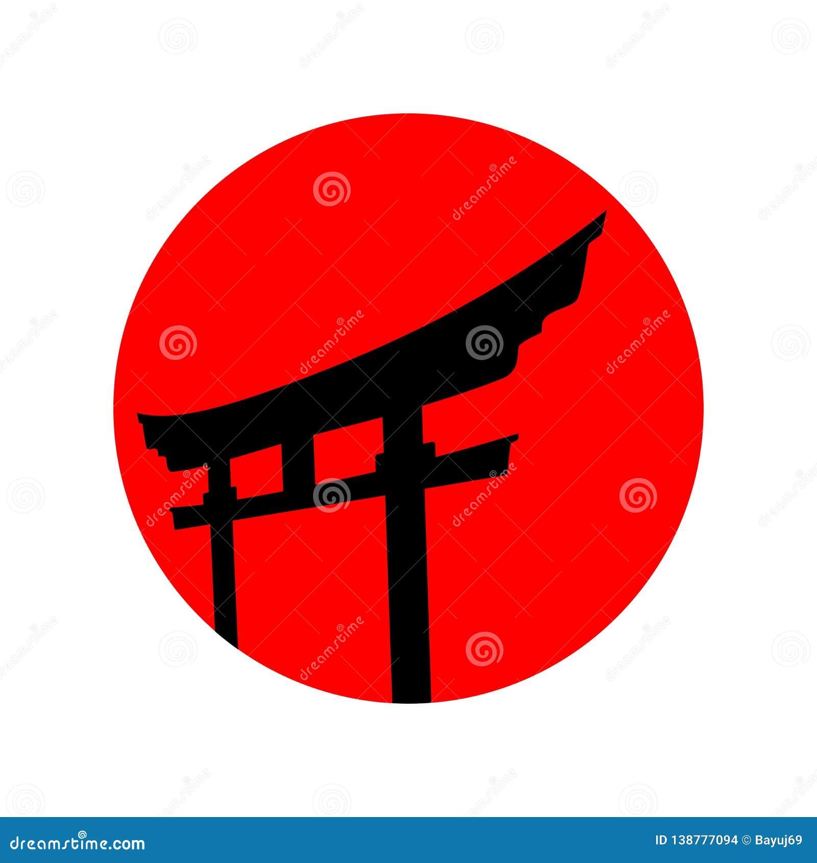 Красная японская воодушевленность дизайна вектора логотипа