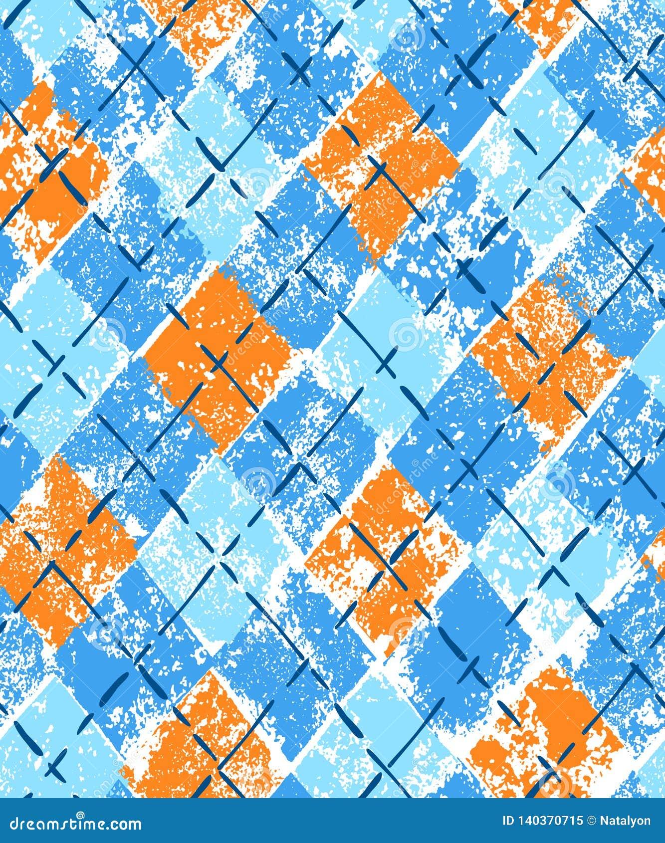 Красочная картина голубого и оранжевого argyle печати grunge геометрическая checkered безшовная, вектор