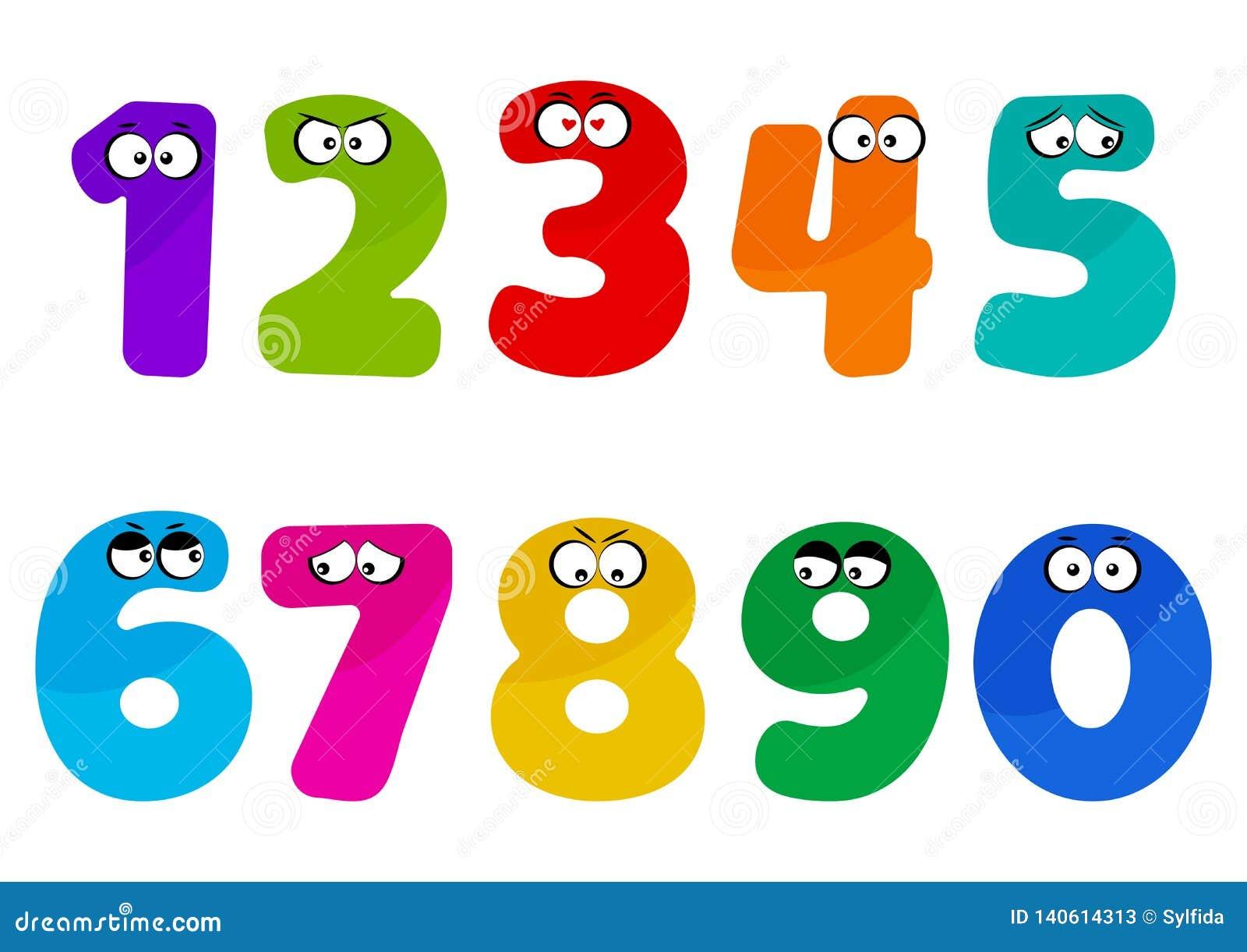 Красочные номера шрифта детей от 1 до 0 с глазами мультфильма также вектор иллюстрации притяжки corel
