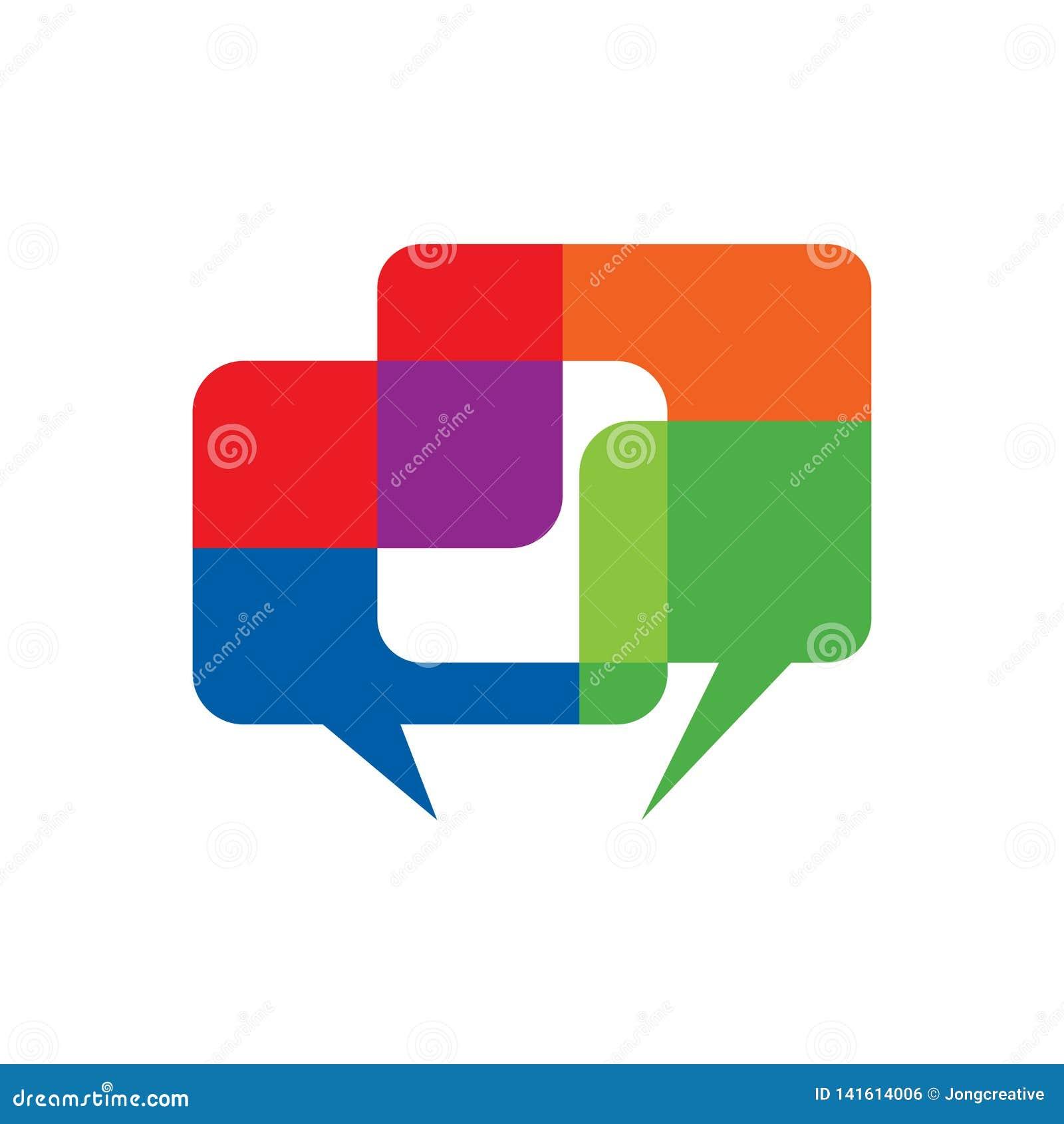 Красочный поговорите беседуя символ связи пузыря диалога