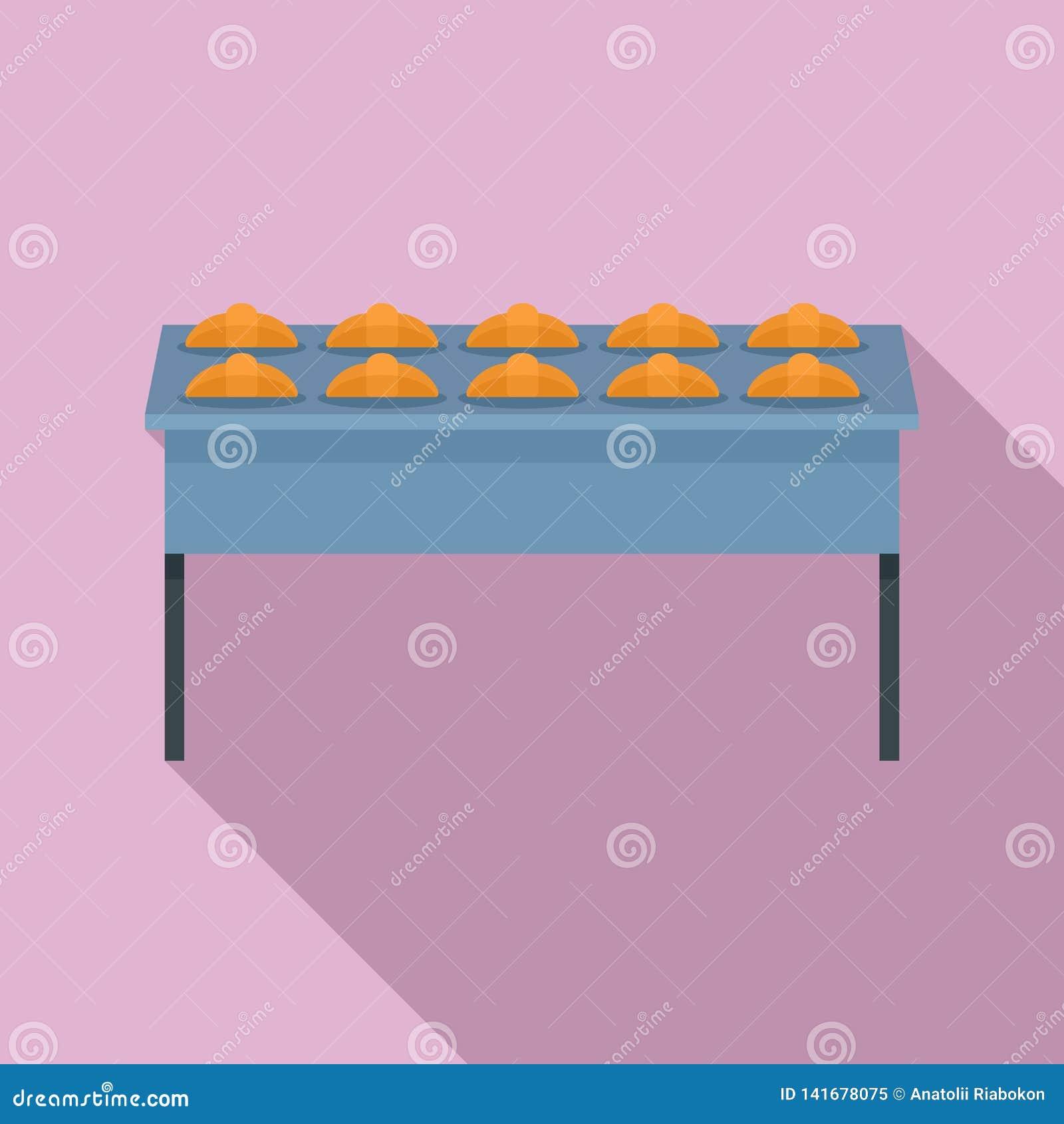 Круассан в значке фабрики пекарни, плоском стиле