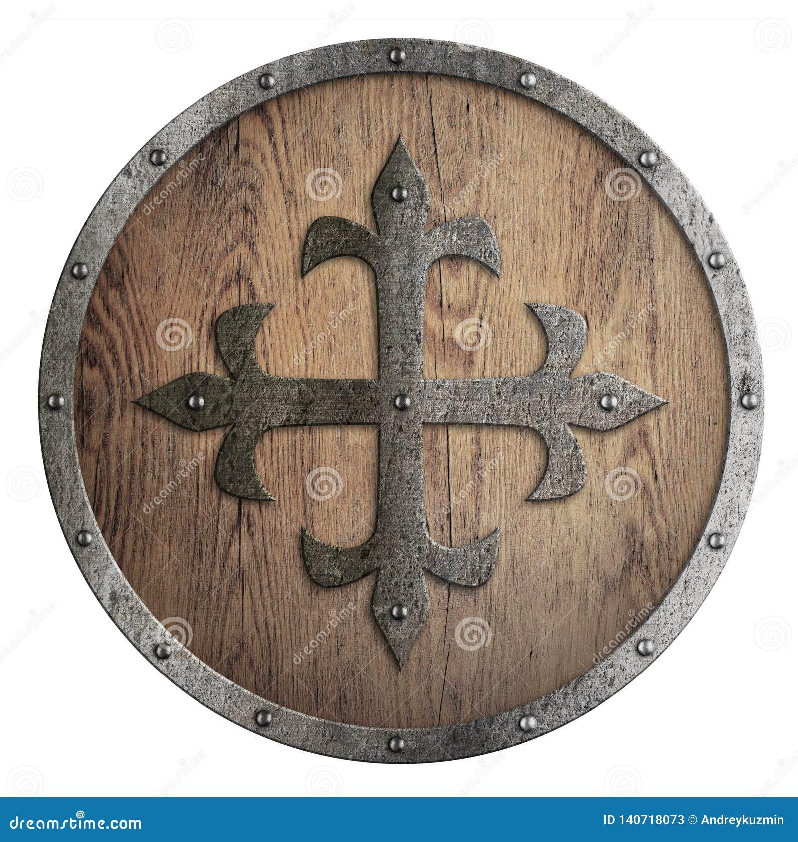 Круглый деревянный экран с крестом металла в разбивочной иллюстрации 3d